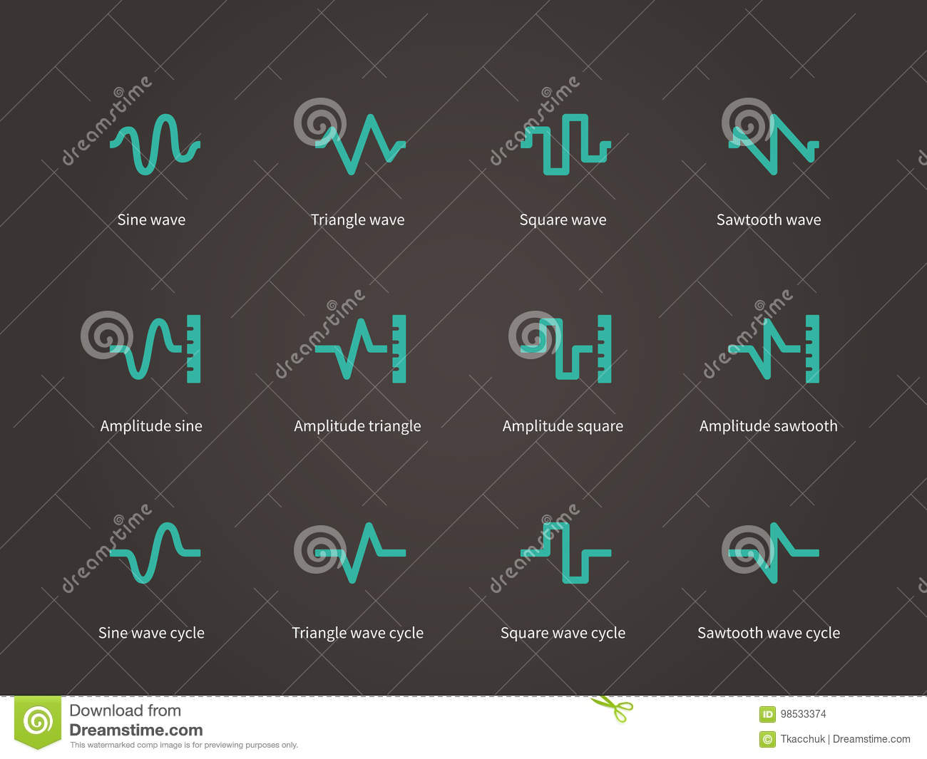Voice  Sound And Music Compression Types Icons Set  Stock Vector