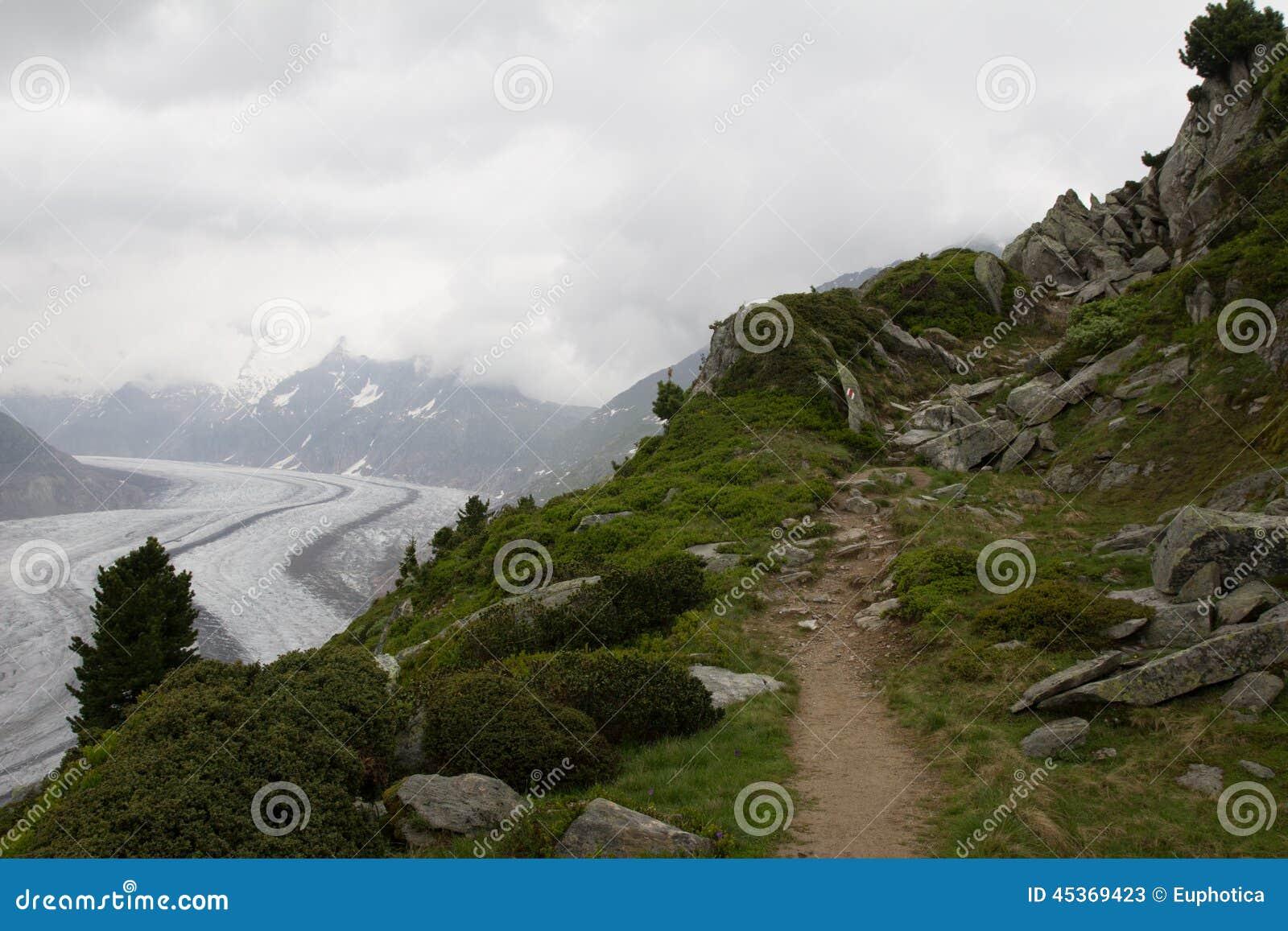 Voie en vue du glacier d Aletsch, Suisse