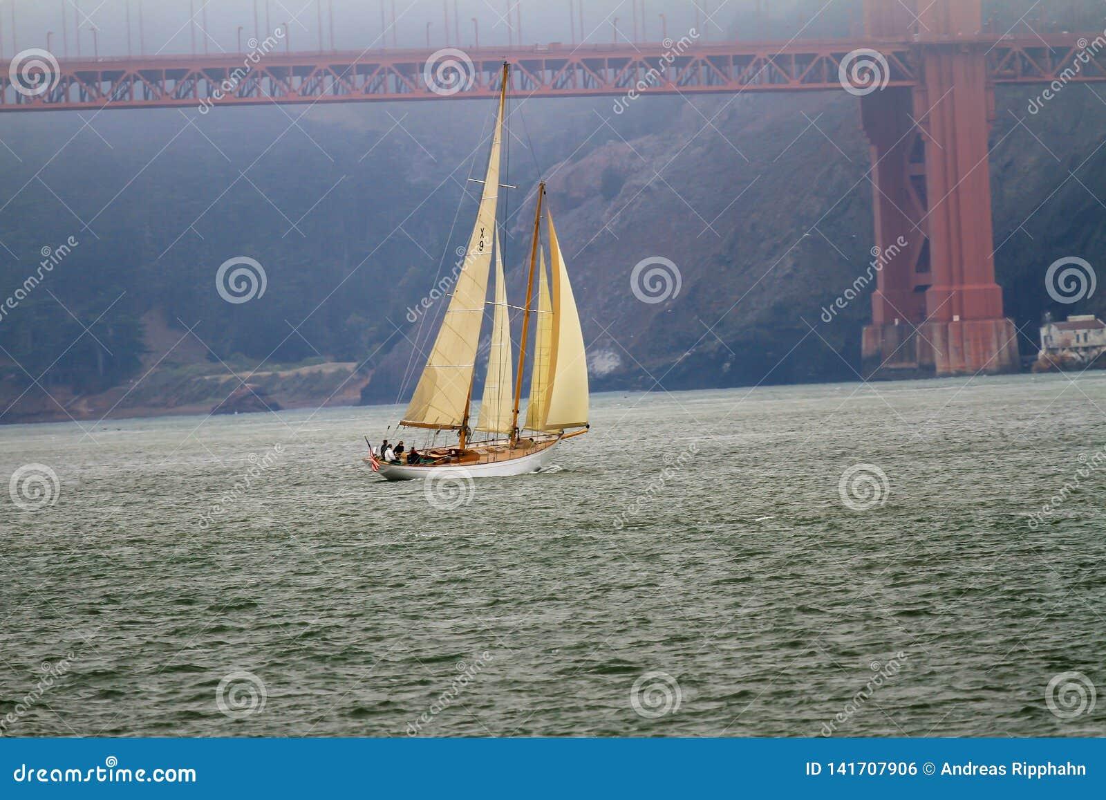 Voilier avec les voiles augmentées approchant le Golden Gate