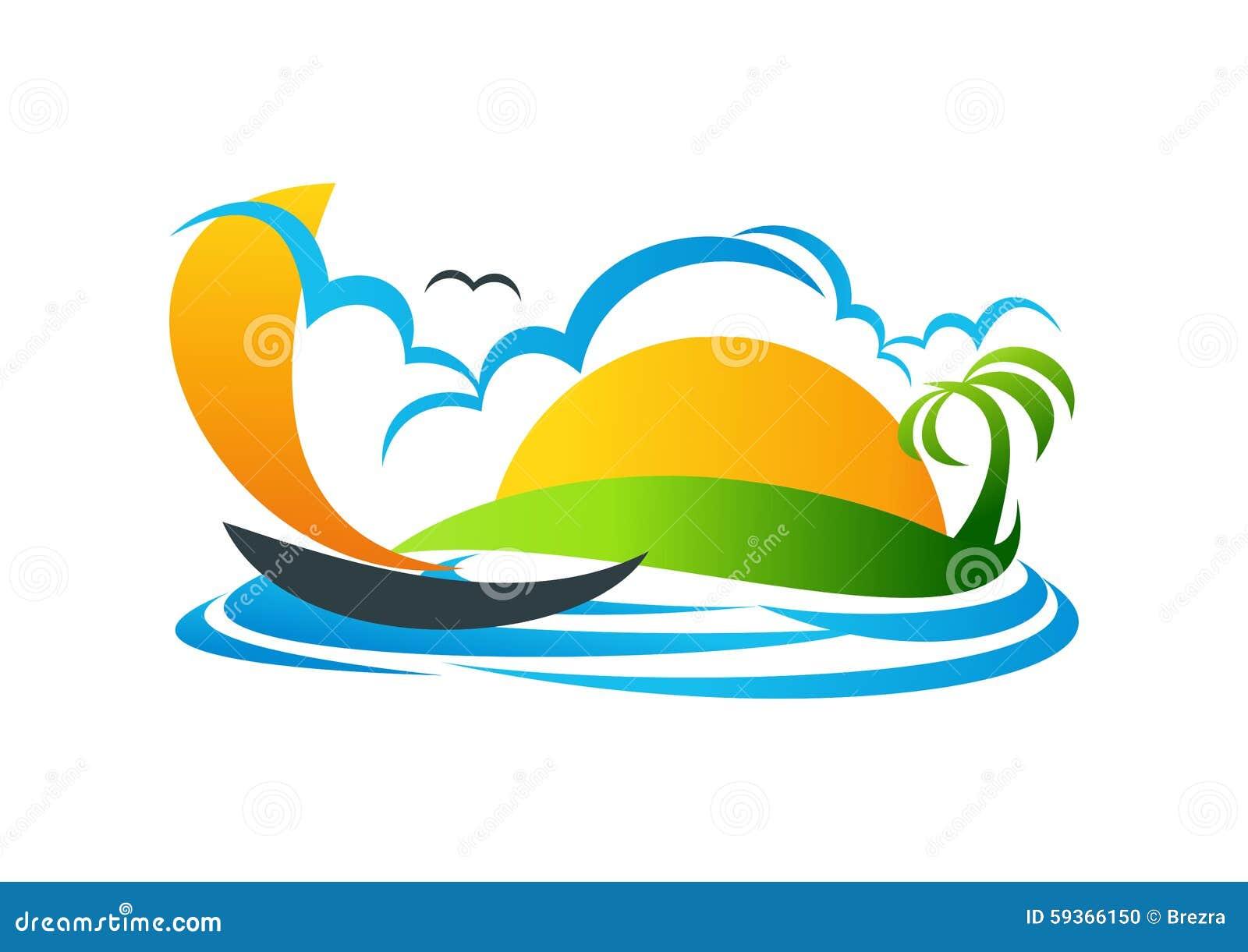 Voilier, logo, yacht, symbole, plage, vacances, conception d icône de vecteur
