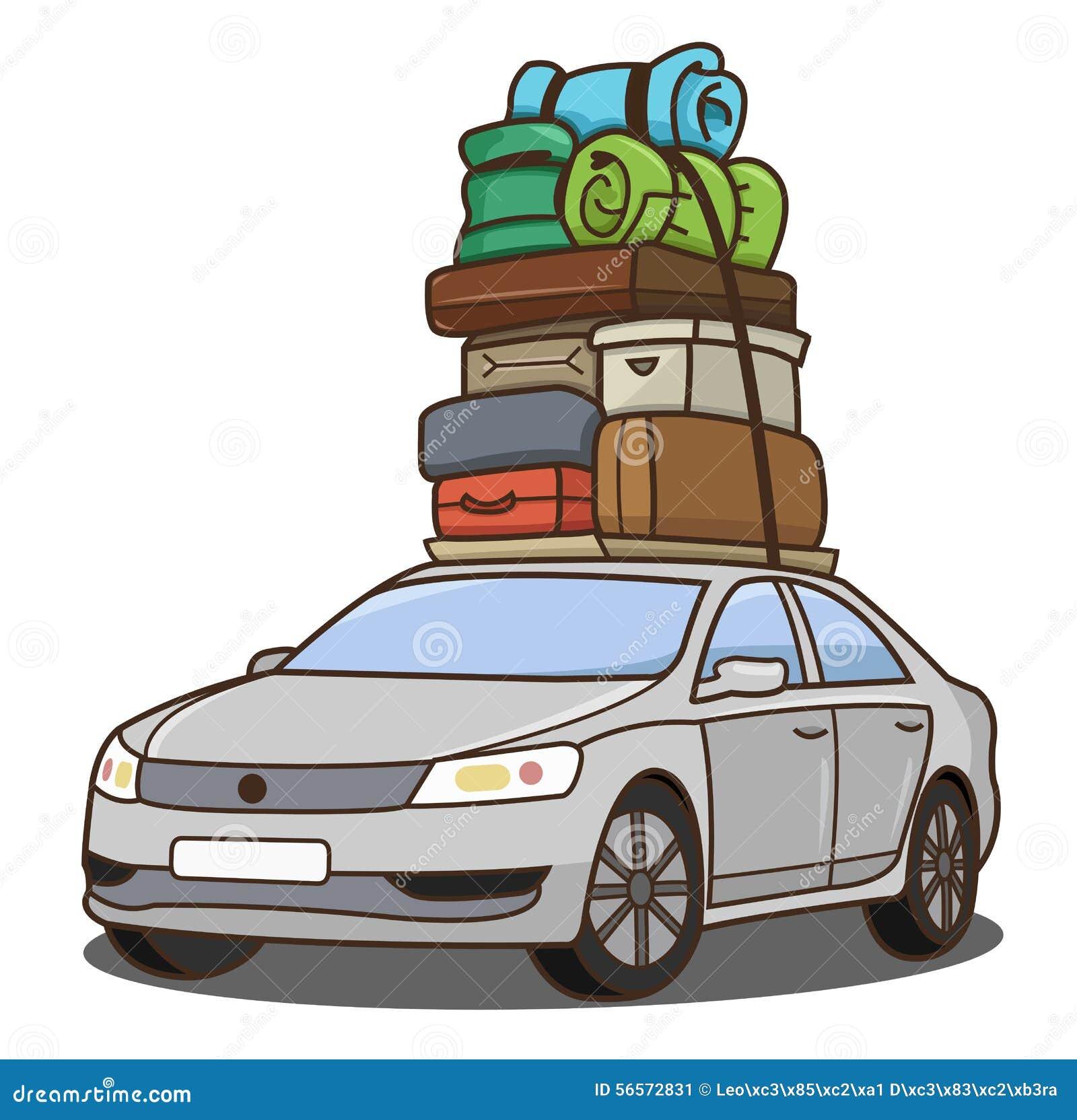 Voiture Avec Le Bagage Illustration De Vecteur Image