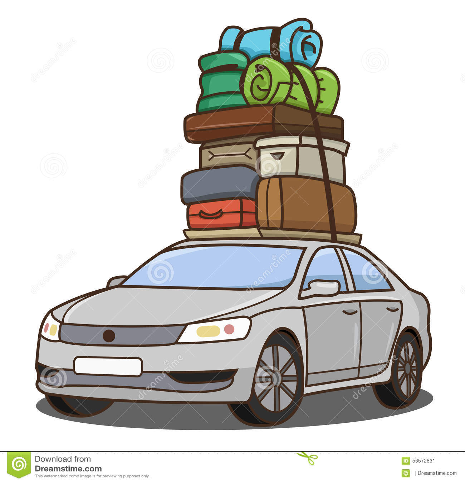 voiture avec le bagage illustration de vecteur illustration du aventure 56572831. Black Bedroom Furniture Sets. Home Design Ideas