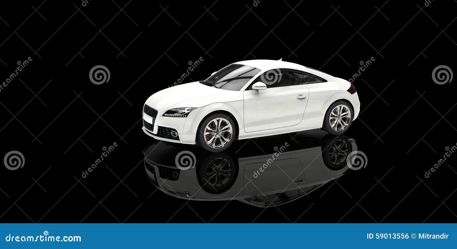 voiture blanche dans la salle d 39 exposition noire illustration stock image 59013556. Black Bedroom Furniture Sets. Home Design Ideas