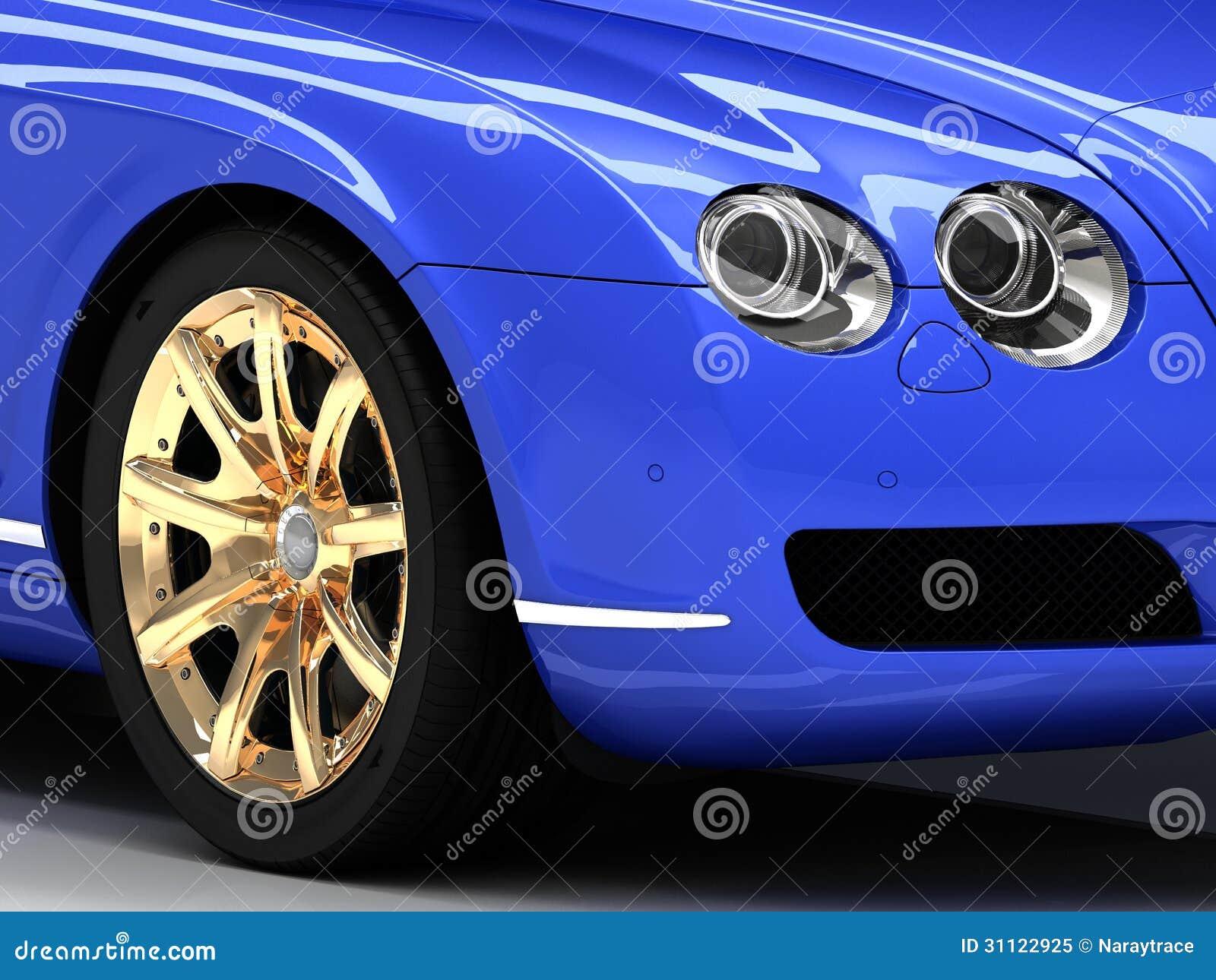 voiture bleue de la meilleure qualit avec des roues d 39 or photo libre de droits image 31122925. Black Bedroom Furniture Sets. Home Design Ideas