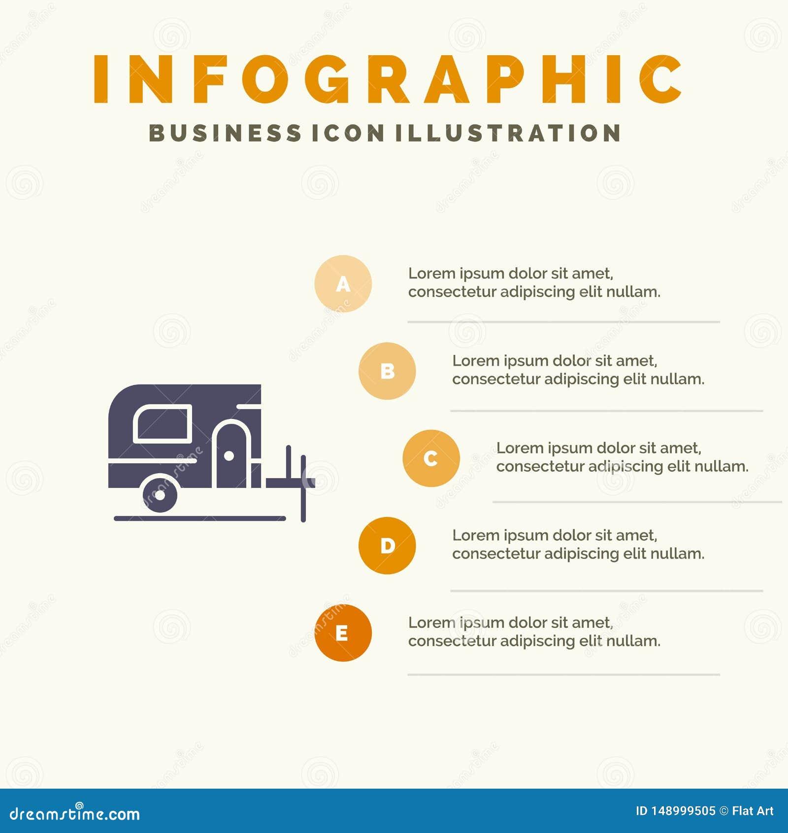Voiture, camp, fond solide de présentation d étapes d Infographics 5 d icône de ressort