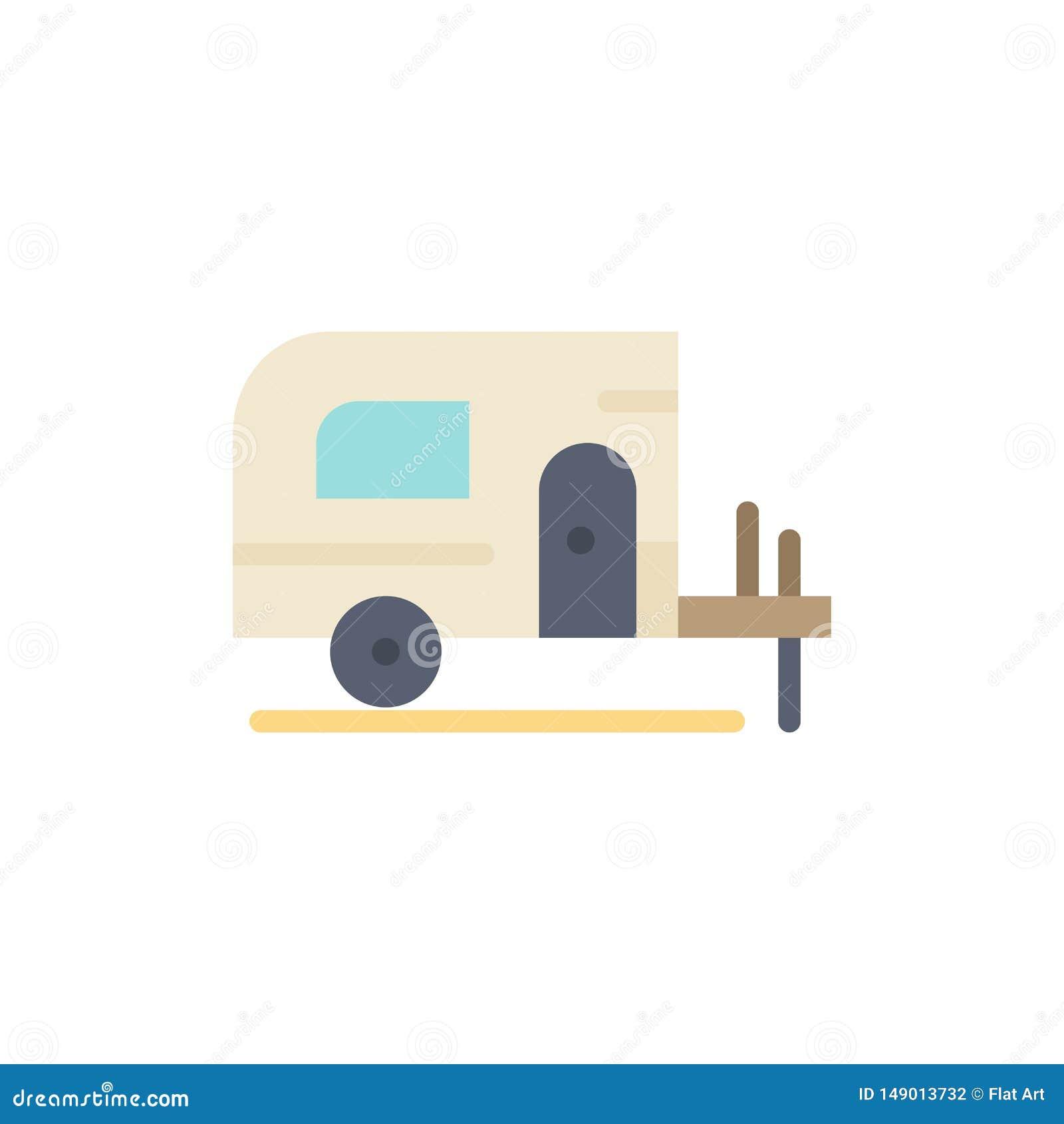 Voiture, camp, icône plate de couleur de ressort Calibre de bannière d icône de vecteur