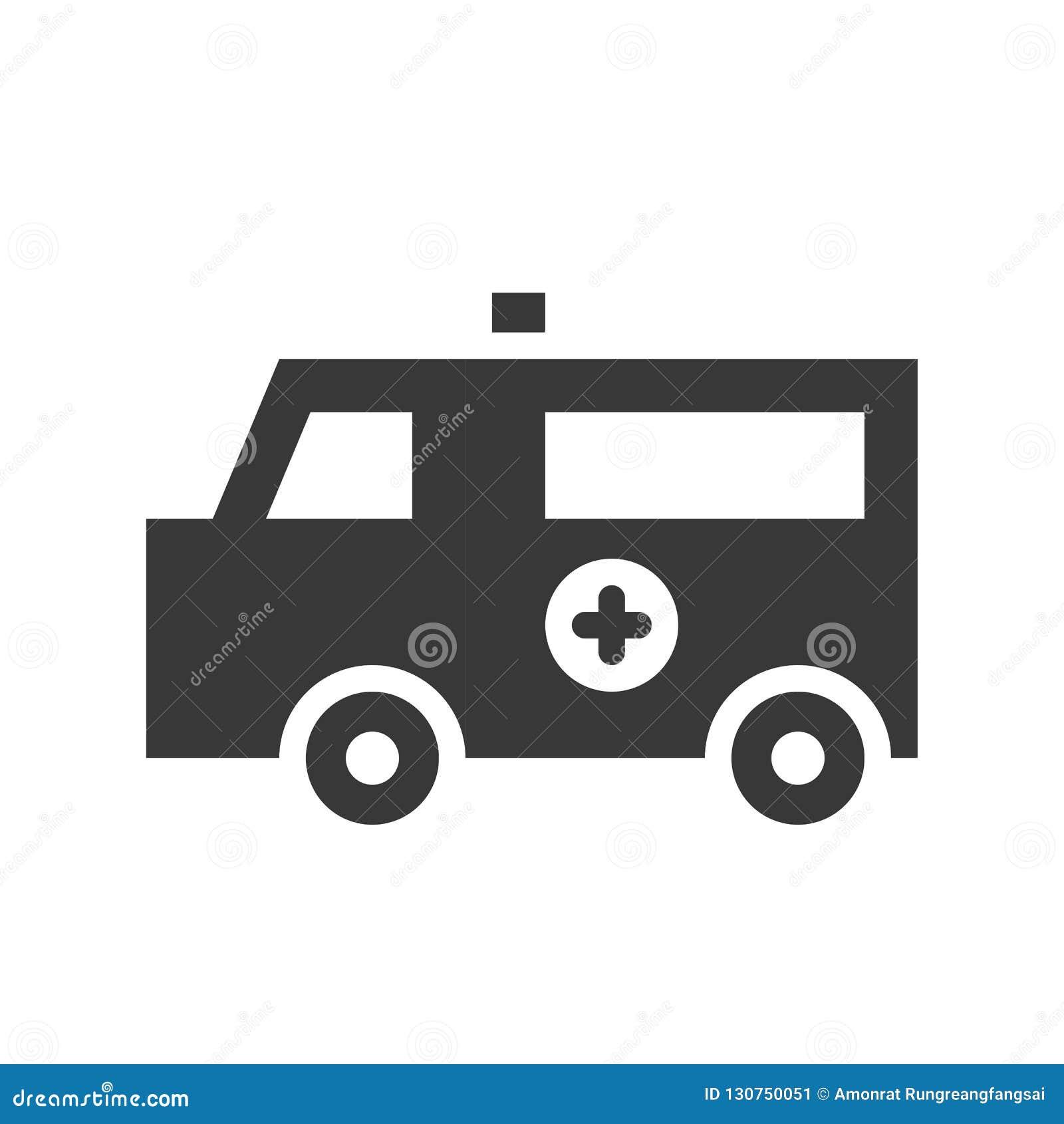 Voiture d ambulance, soins de santé et icône solide relative médicale