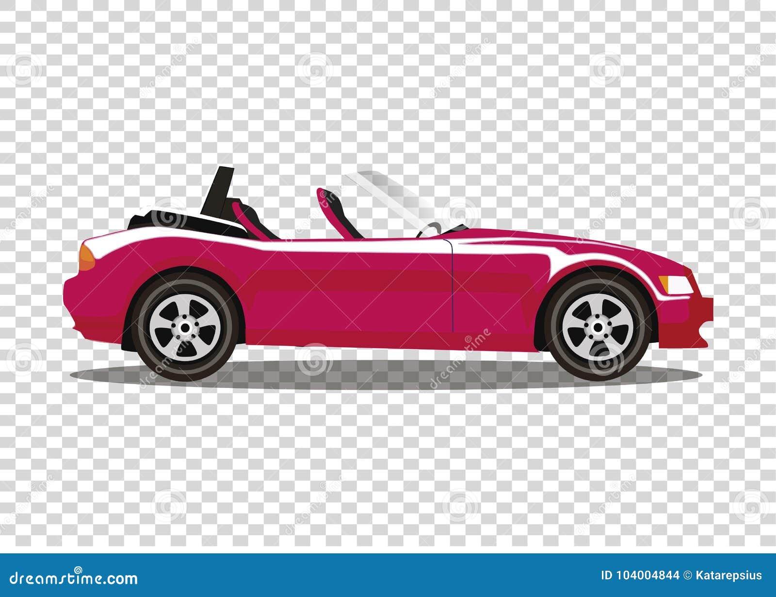 Voiture De Cabriolet Coloree Par Bande Dessinee Moderne Rouge D