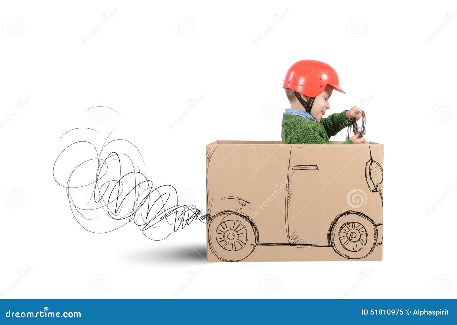 voiture de carton image stock image du joie lecteur. Black Bedroom Furniture Sets. Home Design Ideas