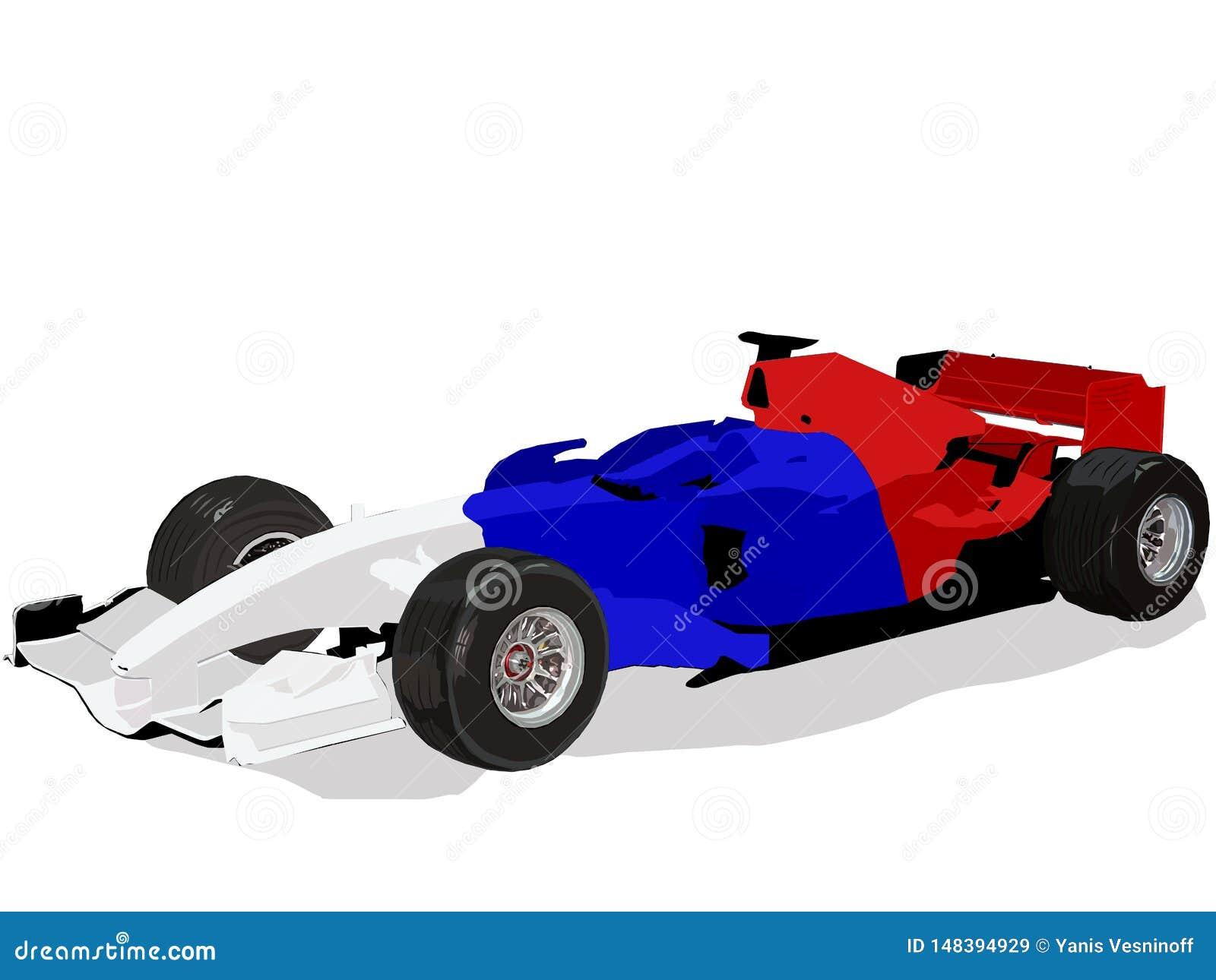 Voiture de course de la formule 1, image d isolement de vecteur