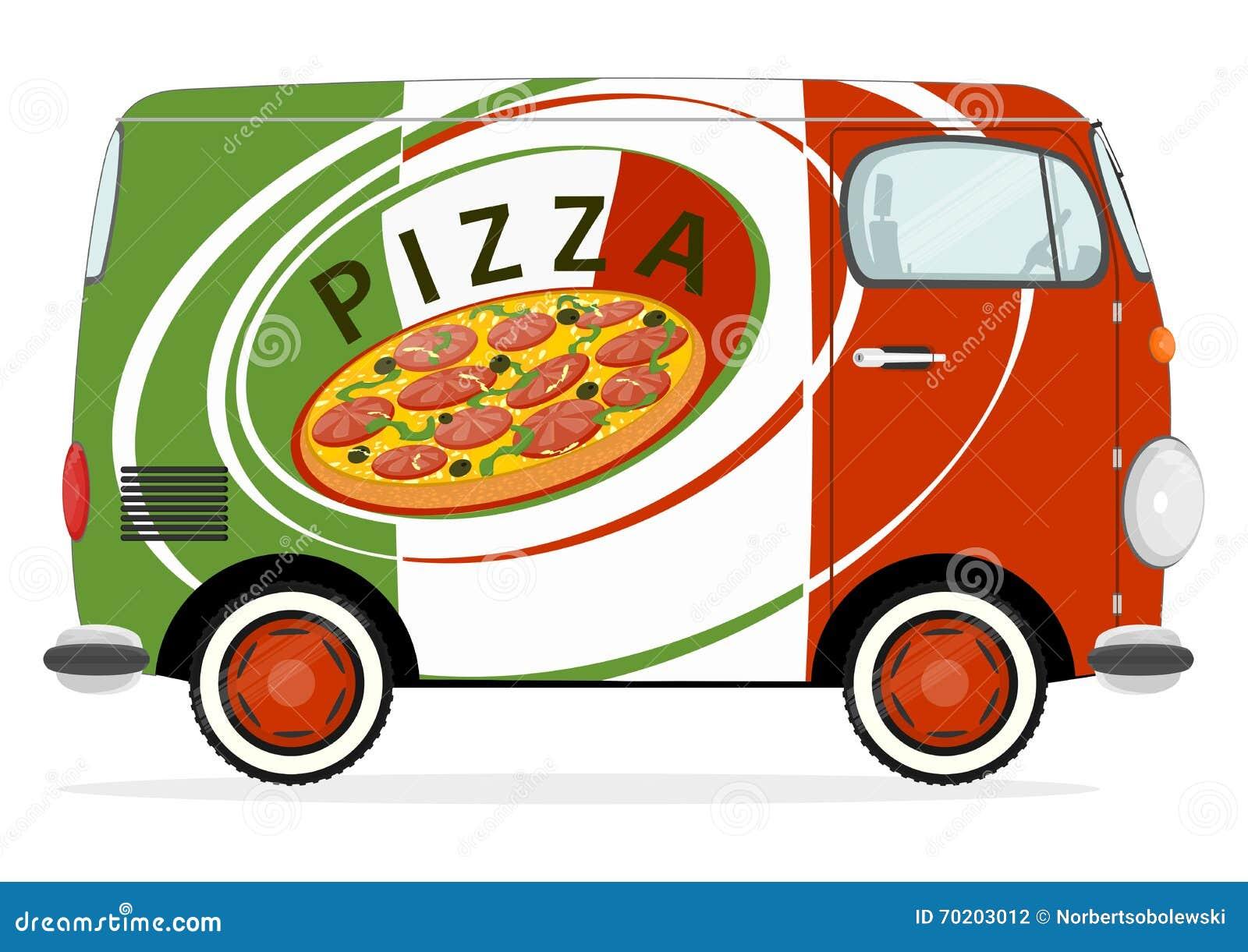 Voiture de livraison de pizza illustration de vecteur - Livraison troyes pizza ...