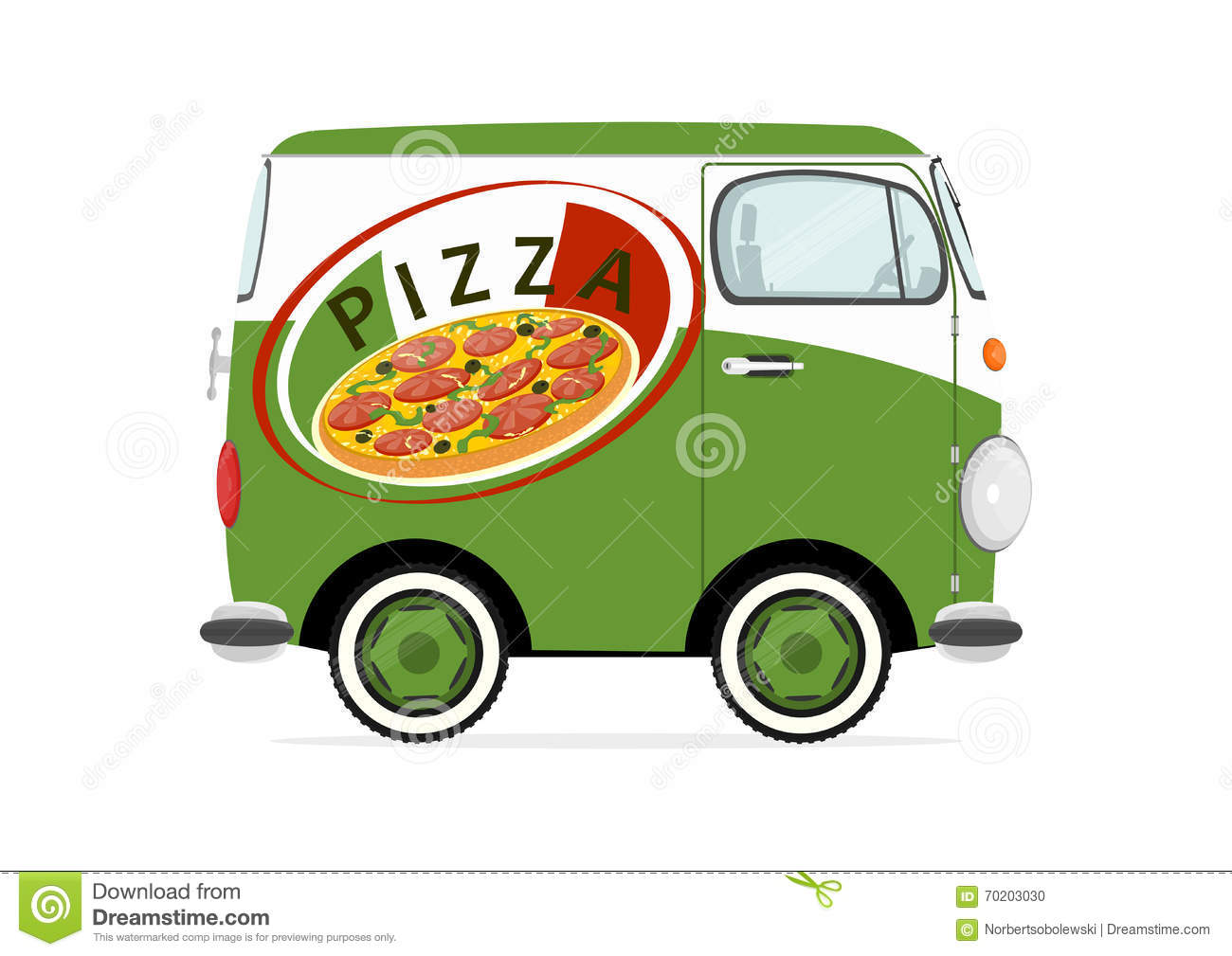 voiture de livraison de pizza illustration de vecteur image 70203030. Black Bedroom Furniture Sets. Home Design Ideas