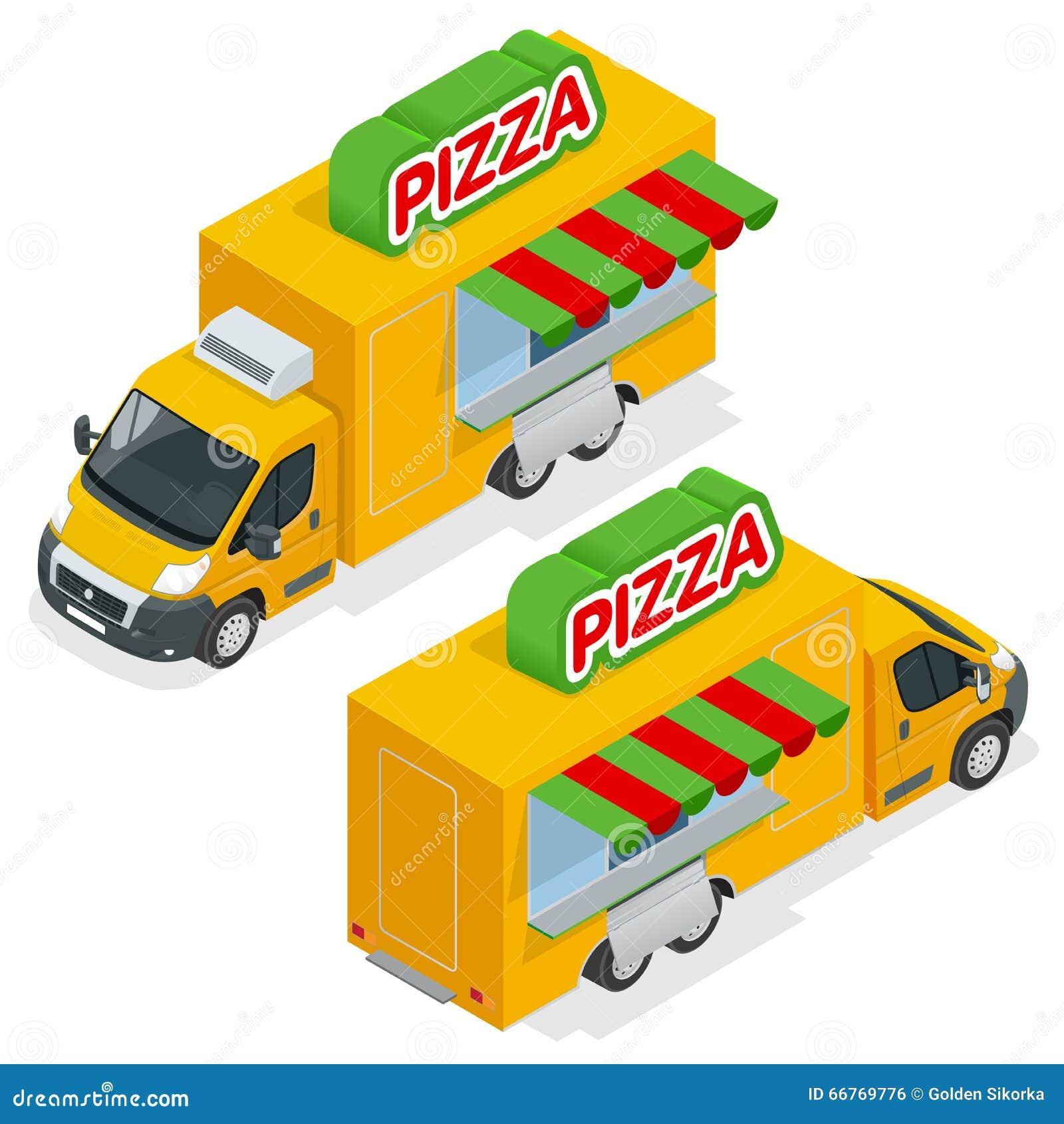 voiture de livraison rapide de pizza sur le fond blanc fourgon de livraison avec le symbole. Black Bedroom Furniture Sets. Home Design Ideas