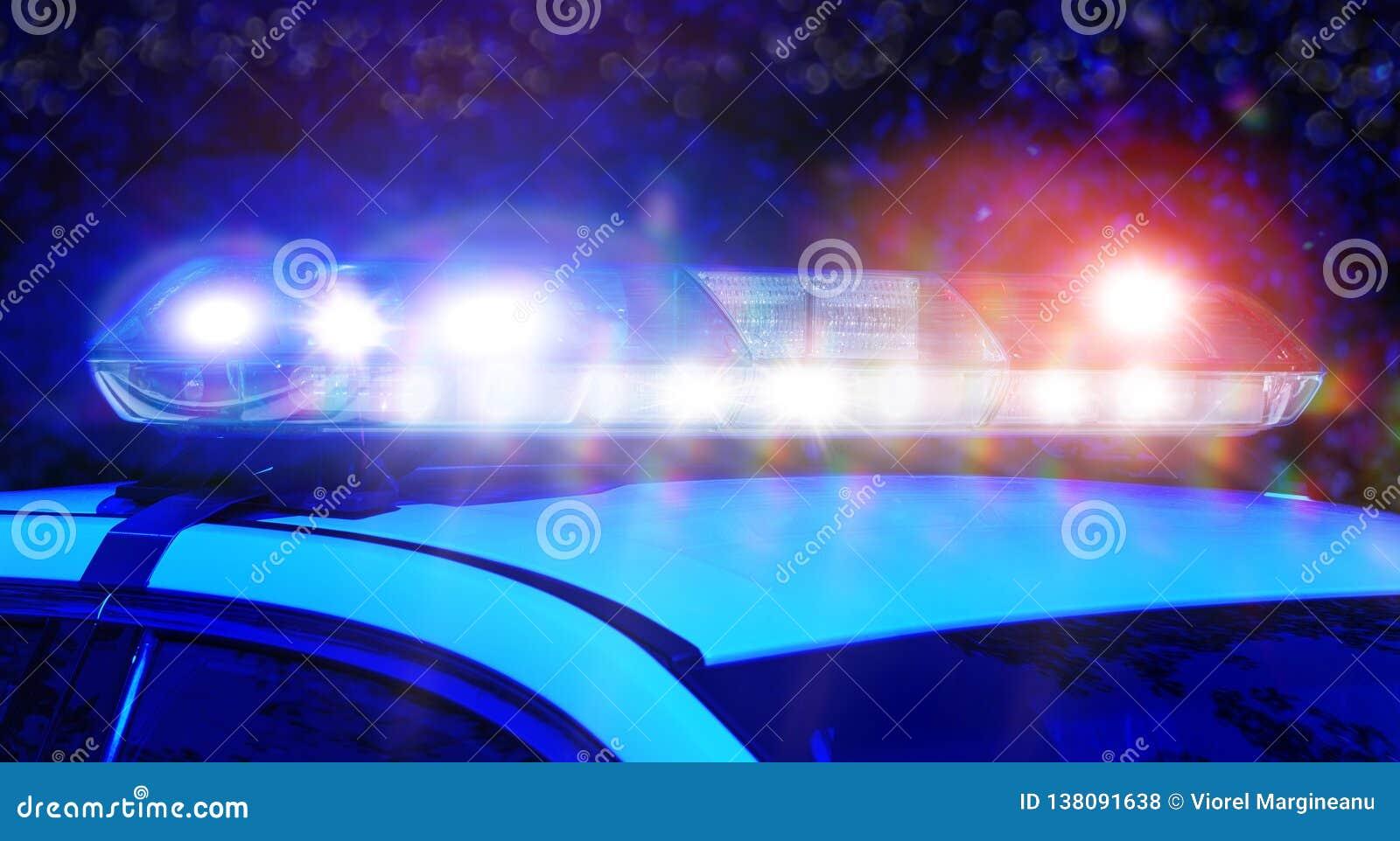 Voiture La Des Sirène Foyer Police De À Lumières Avec Sur Nuit Le rBodxeC