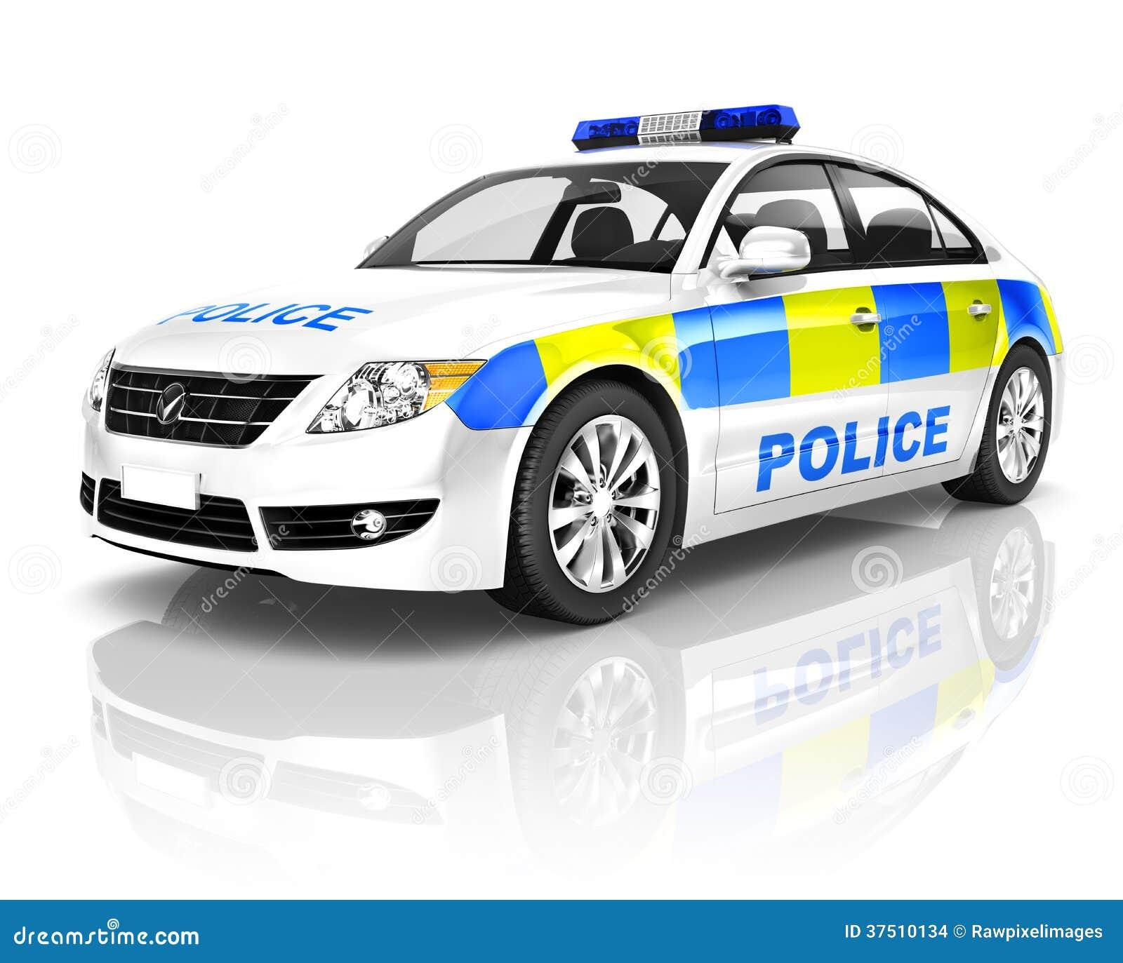 voiture de police 3d sur le fond blanc illustration stock illustration du r flexion prot gez. Black Bedroom Furniture Sets. Home Design Ideas