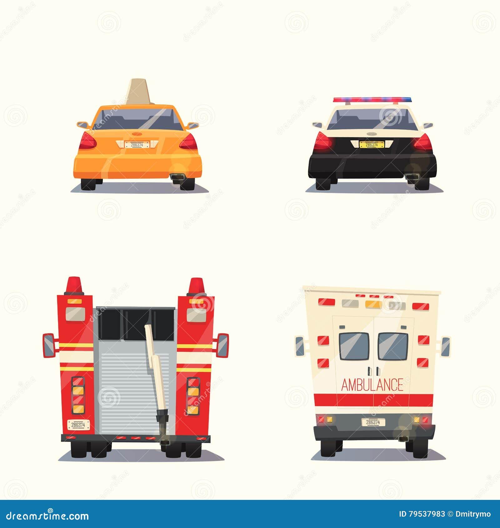 Voiture De Police De Taxi D Ambulance Et Firetruck Illustration