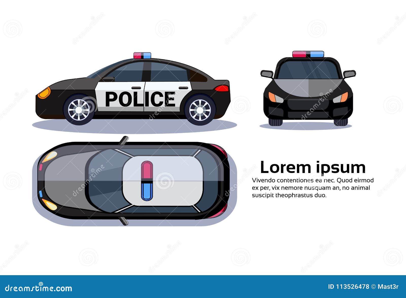 Voiture de police sur le dessus, le côté et le Front View Over Copy Space d isolement par fond blanc