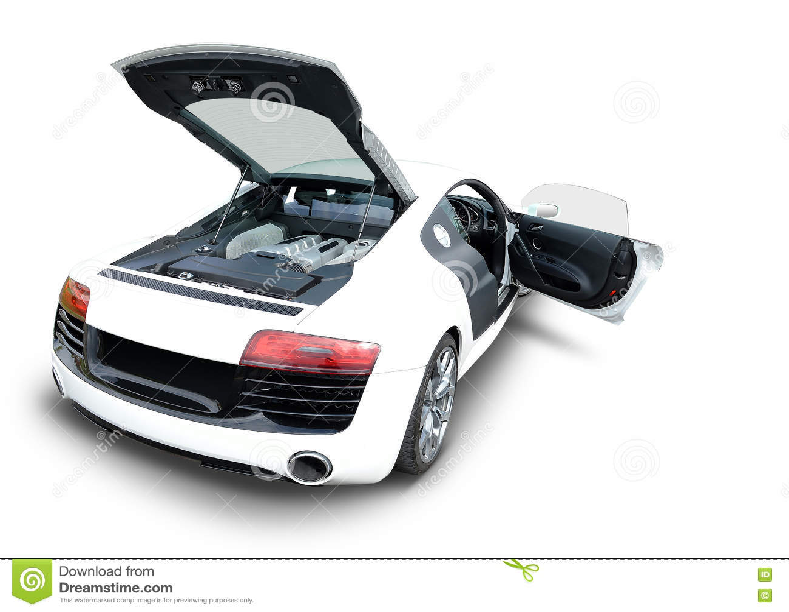 voiture de sport d 39 audi r8 avec le moteur et la porte ouverts photo stock image du effectuez. Black Bedroom Furniture Sets. Home Design Ideas