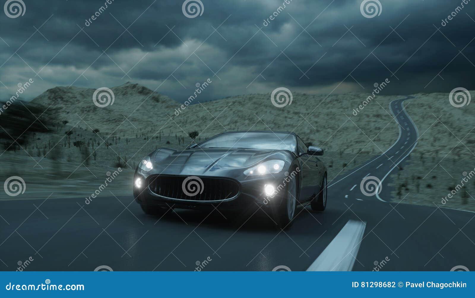 Voiture de sport noire sur la route, route Entraînement très rapide rendu 3d