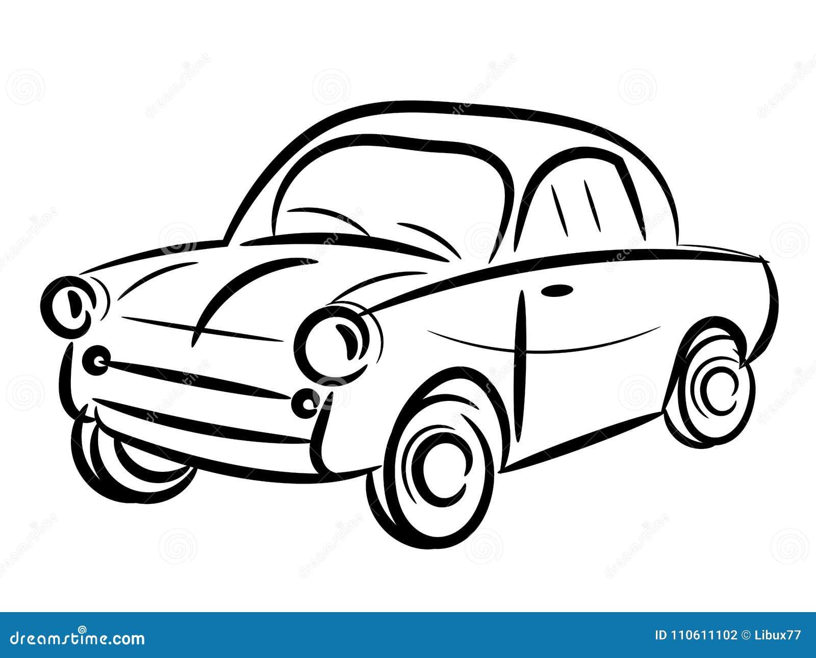 Voiture de vintage stylis e illustration de vecteur illustration du symbole dessin 110611102 - Dessin voiture stylisee ...