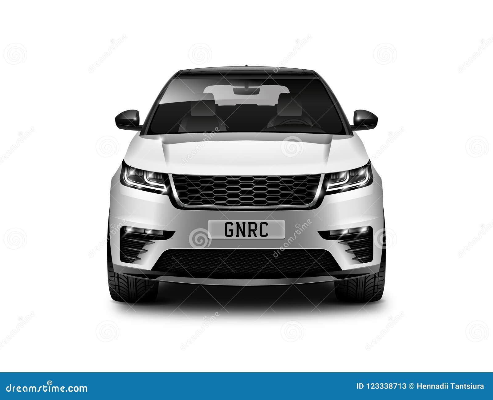 Voiture générique métallique blanche de SUV sur le fond blanc Front View With Isolated Path