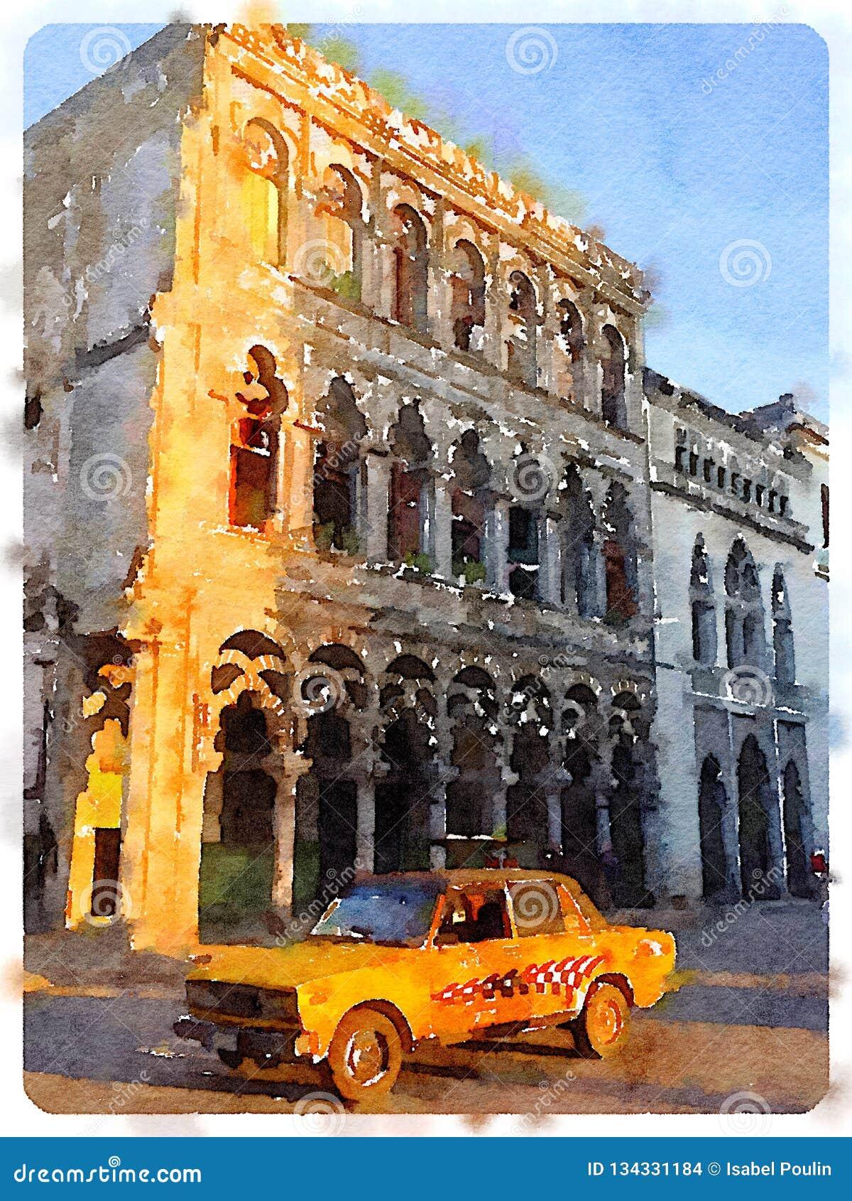 Voiture jaune à La Havane au Cuba