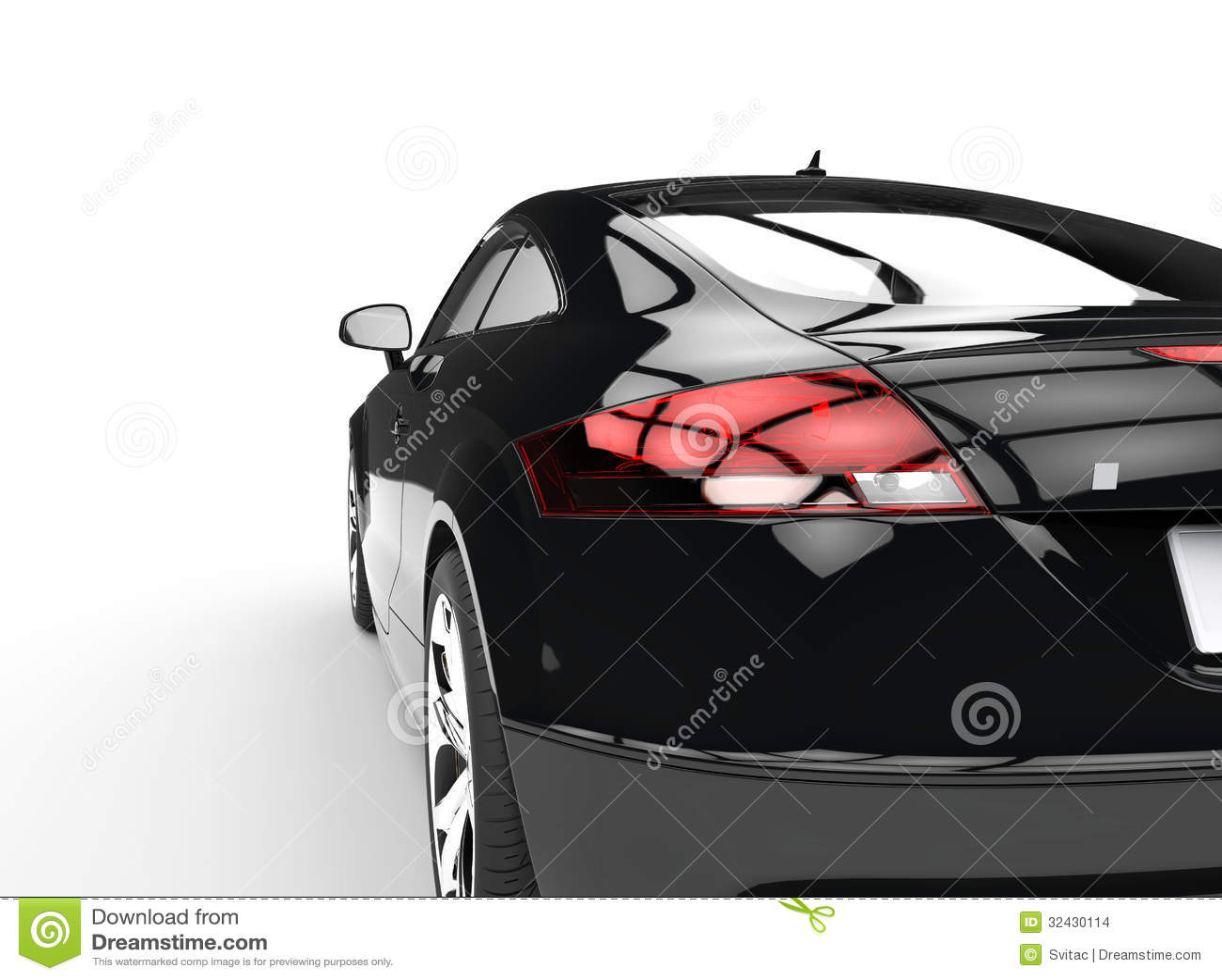 voiture puissante noire sur la vue blanche de dos de fond images stock image 32430114. Black Bedroom Furniture Sets. Home Design Ideas