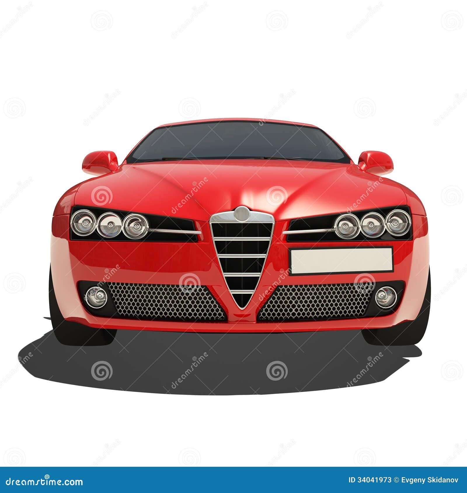 voiture rouge d 39 isolement sur le fond blanc illustration stock image 34041973. Black Bedroom Furniture Sets. Home Design Ideas
