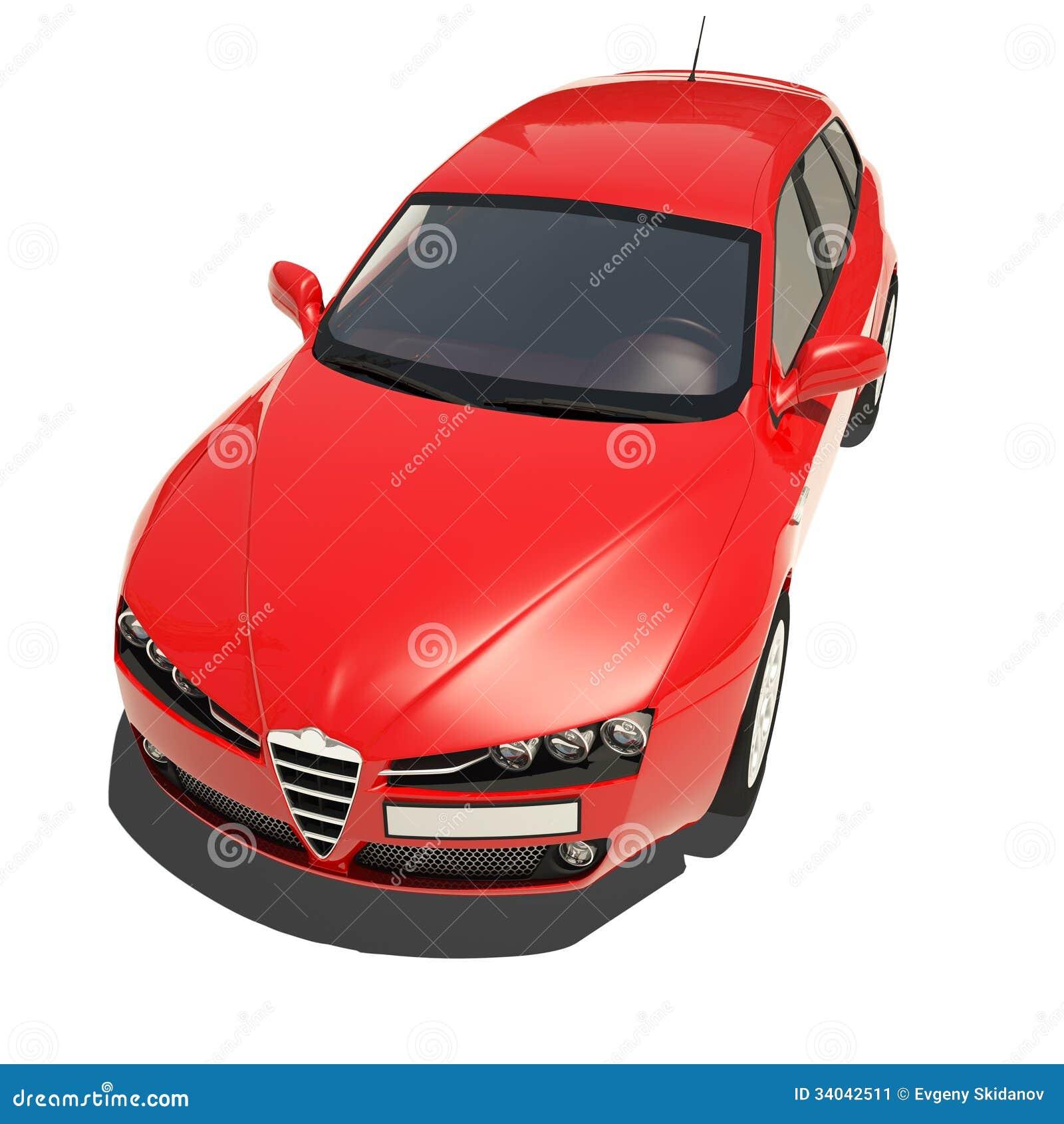 voiture rouge d 39 isolement sur le fond blanc illustration stock illustration du phares. Black Bedroom Furniture Sets. Home Design Ideas