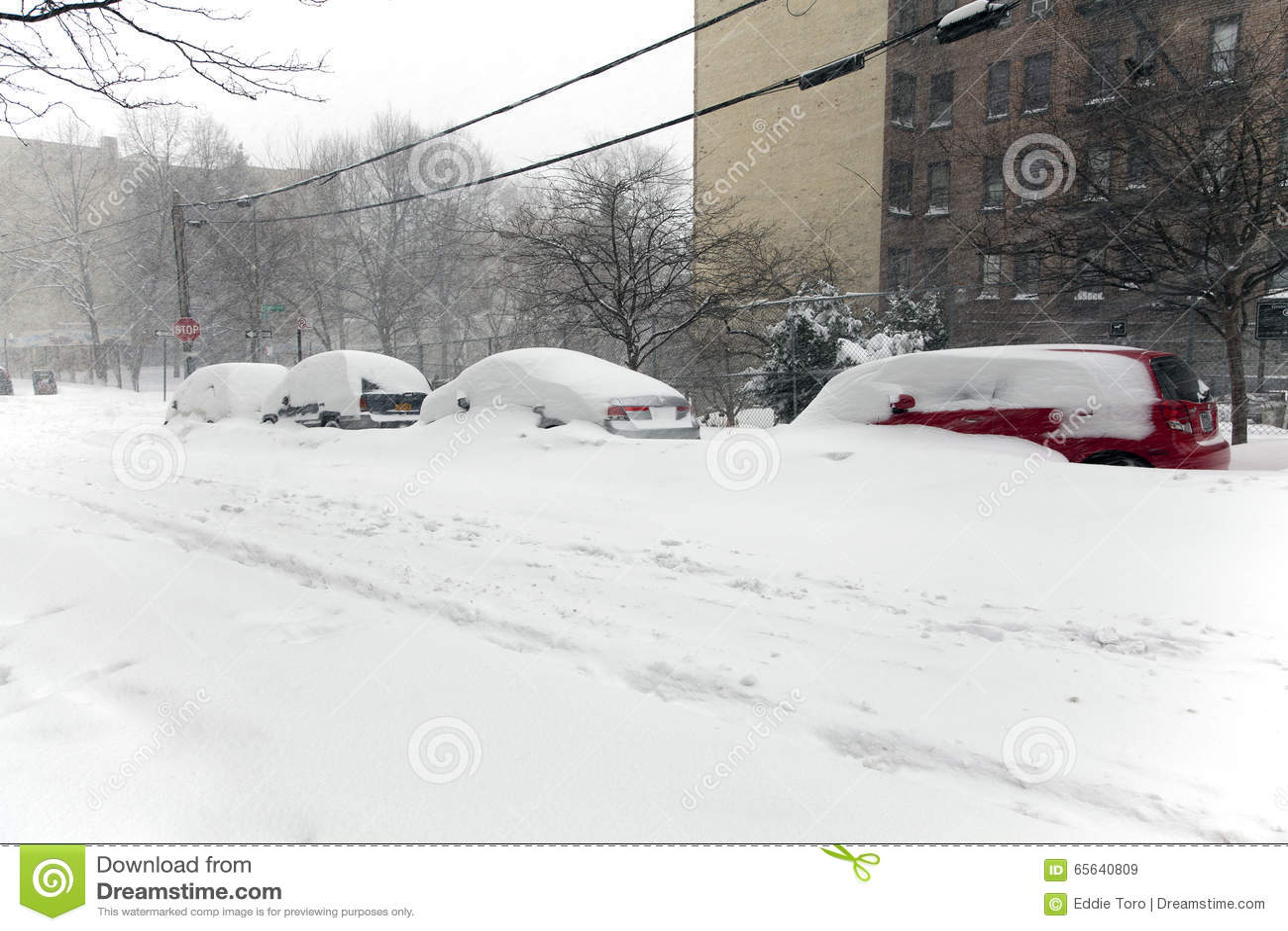 Voitures de burries de neige dans la tempête de neige Jonas dans le Bronx New York