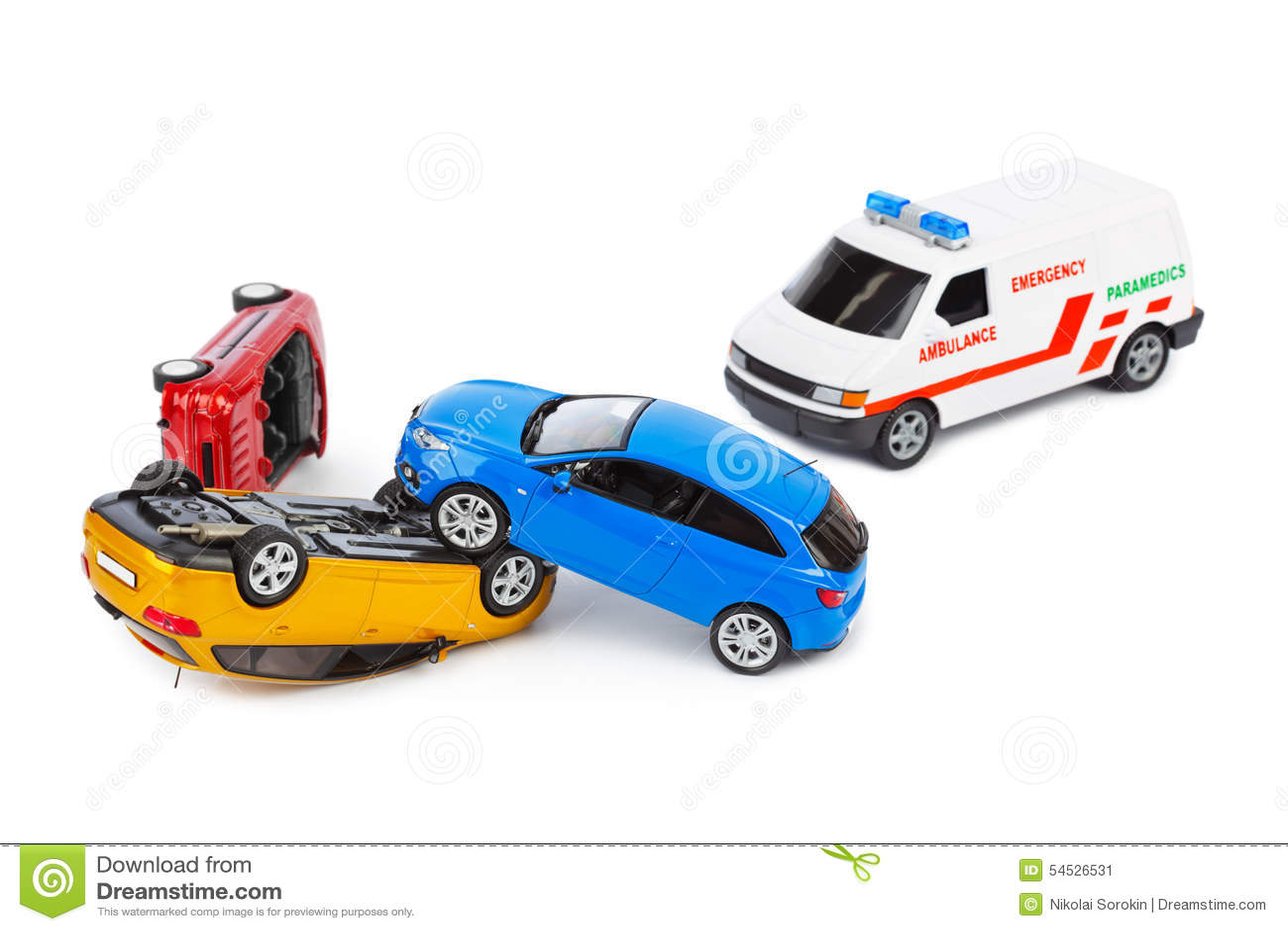 voitures de jouet d 39 accident et voiture d 39 ambulance photo stock image 54526531. Black Bedroom Furniture Sets. Home Design Ideas