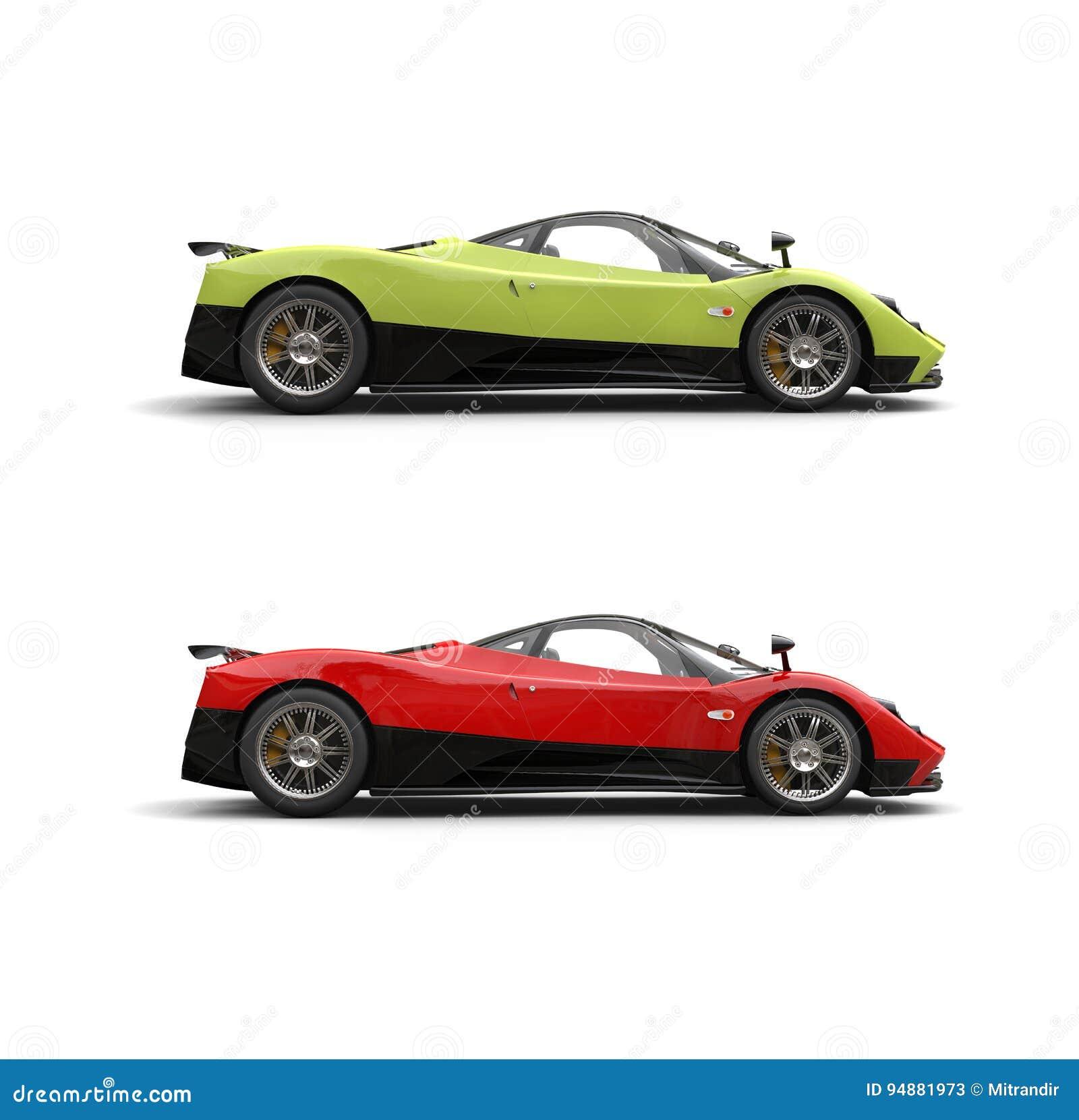 Voitures superbes folles de sport rouge de vert et de fureur - vue de côté