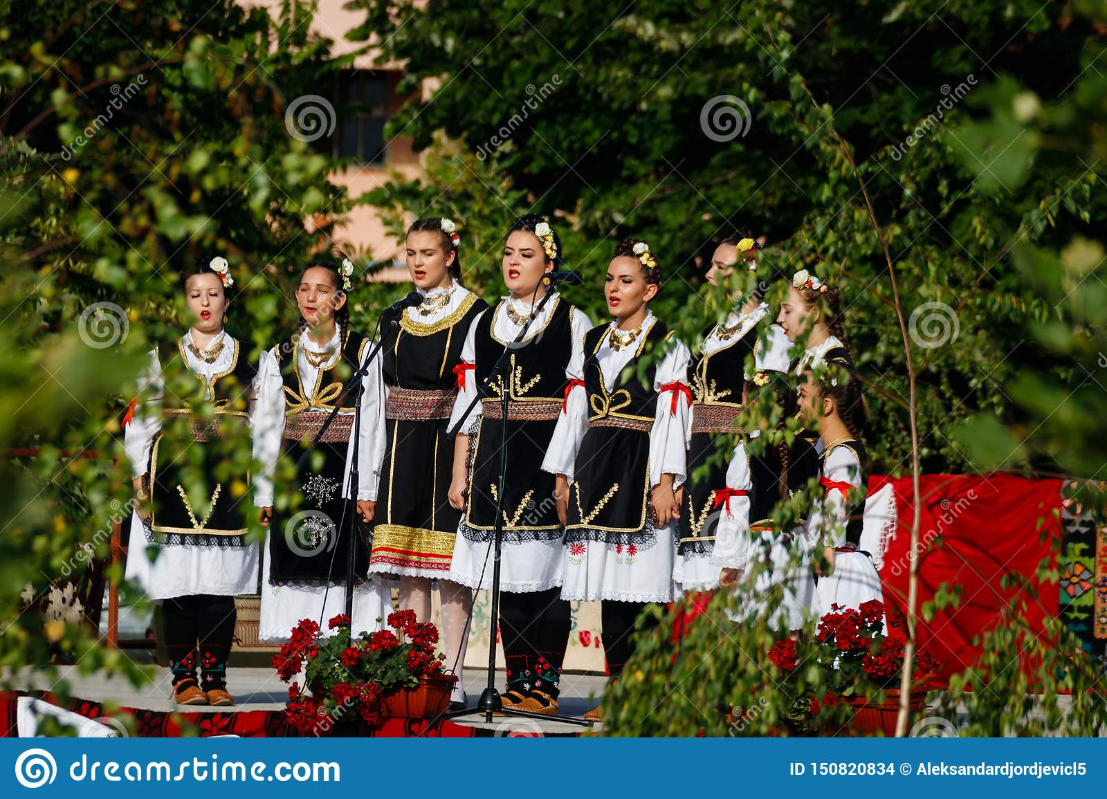 Vojvodina, Serbia-June 16, 2019: Nine young girls in traditional folklore costumes