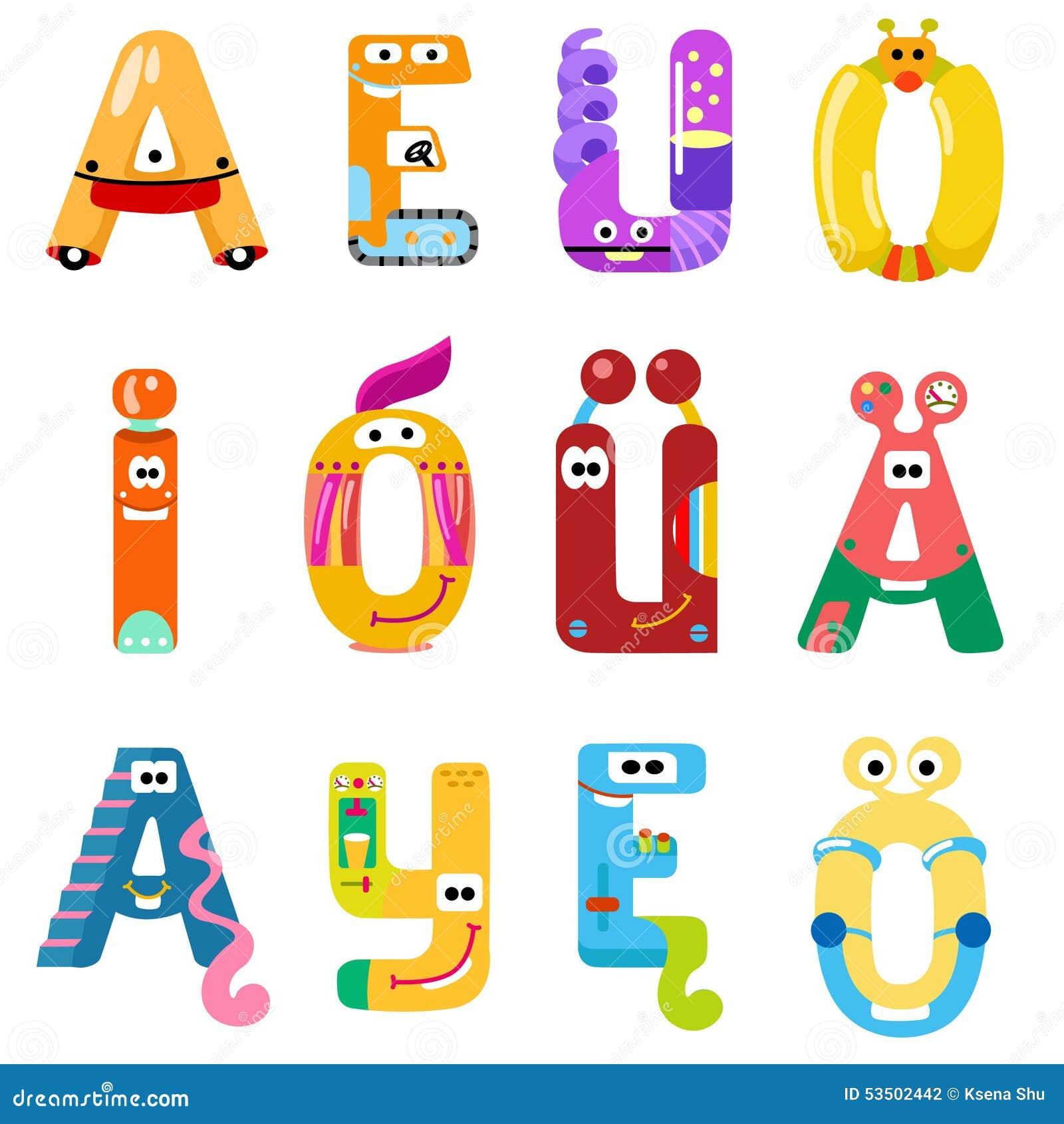 Vokal des lateinischen Alphabetes mögen verschiedene Roboter