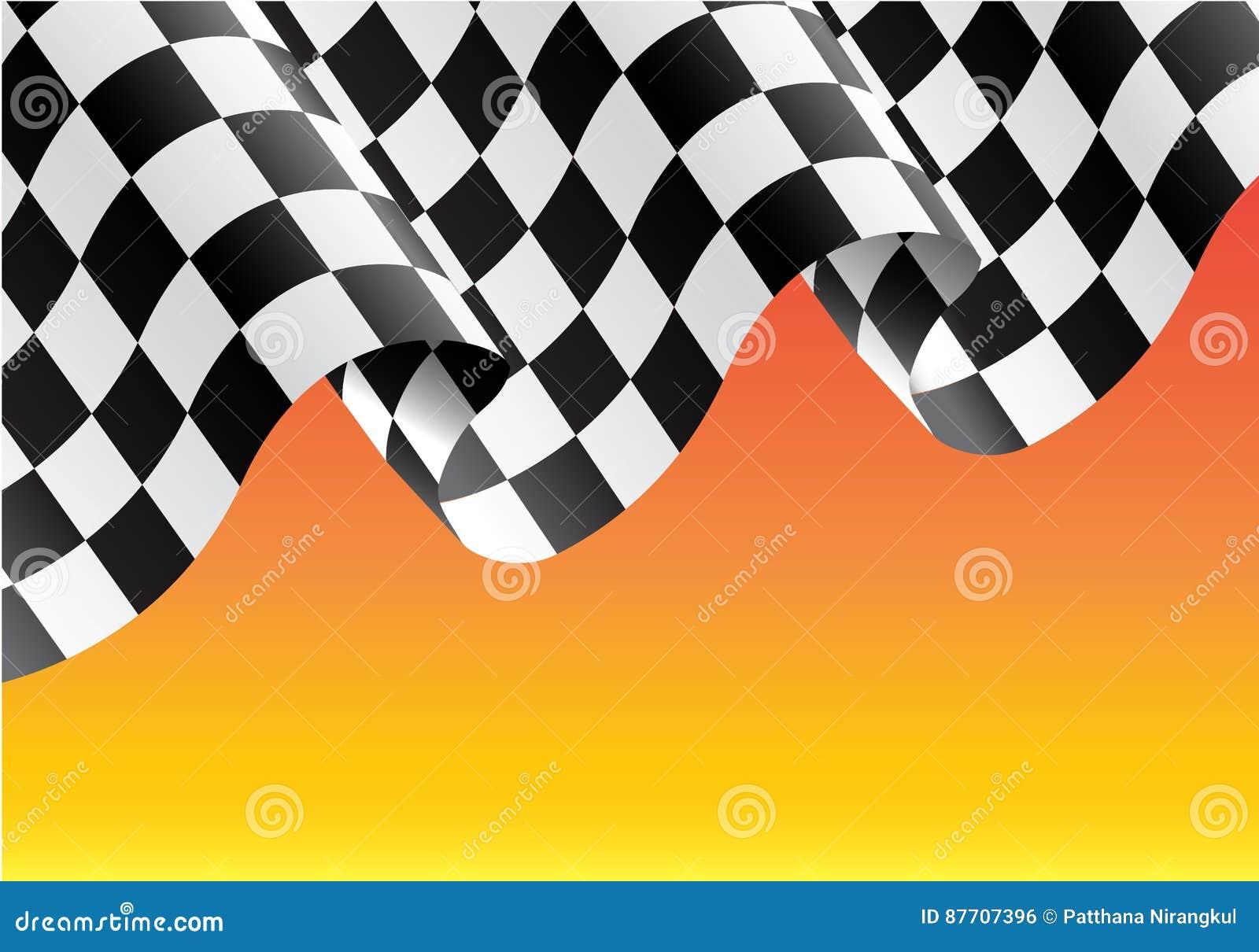 Vol à carreaux de drapeau sur l illustratio jaune de vecteur