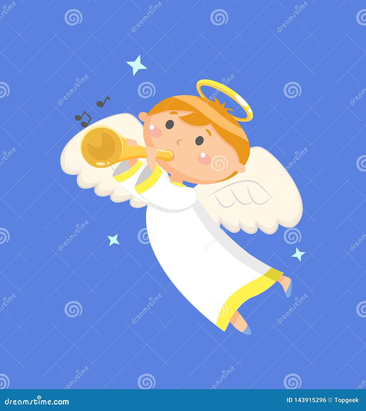 Vol Angel Playing Trumpet, retentissant le vecteur de gar?on