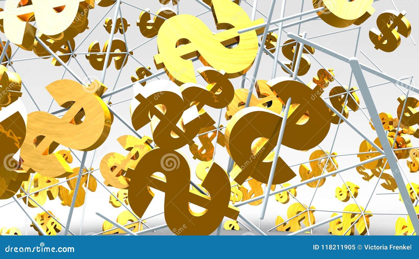 Vol d or de symbole dollar sur le fond lumineux