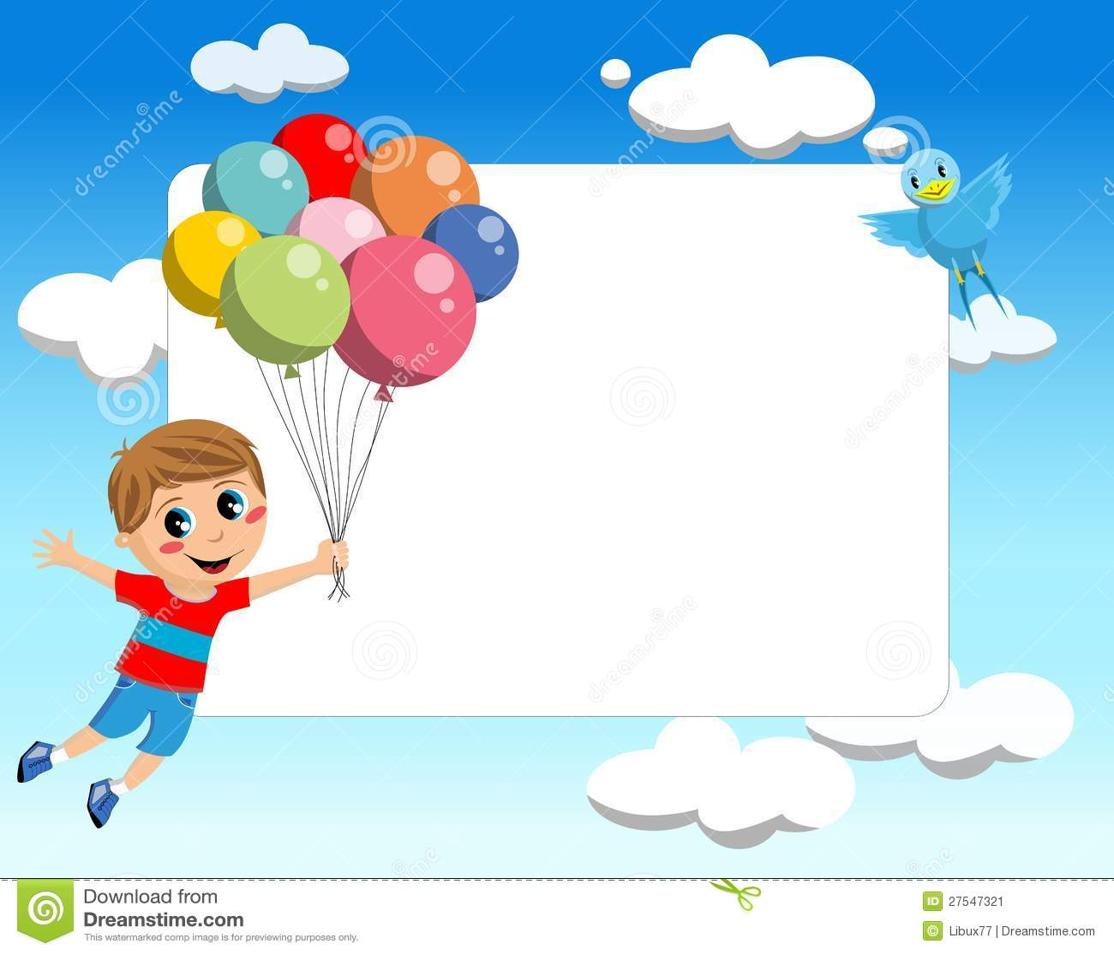 Vol de gosse avec la trame de ballons