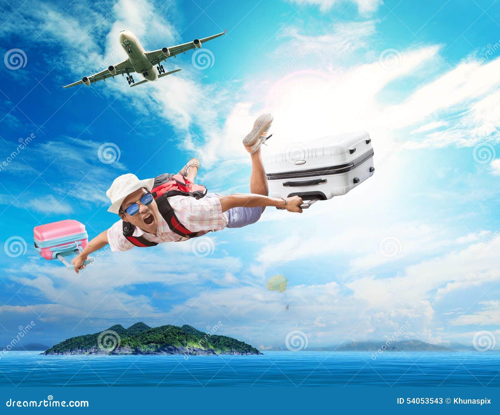Vol de jeune homme d avion de passagers à la destination naturelle ISL