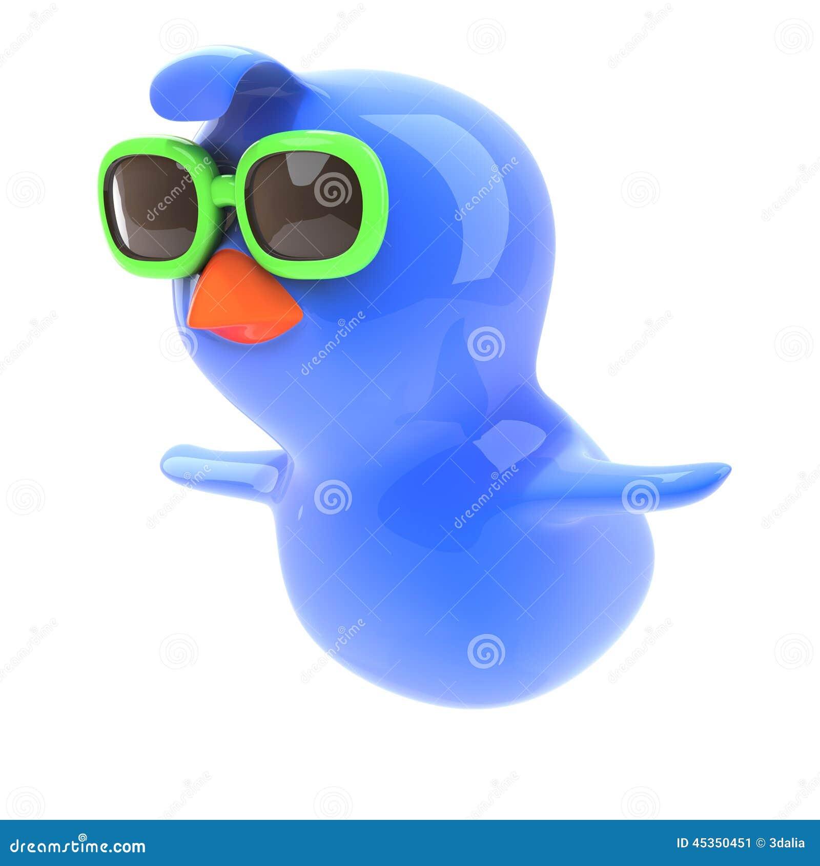 Vol de l oiseau bleu 3d utilisant les lunettes de soleil vertes