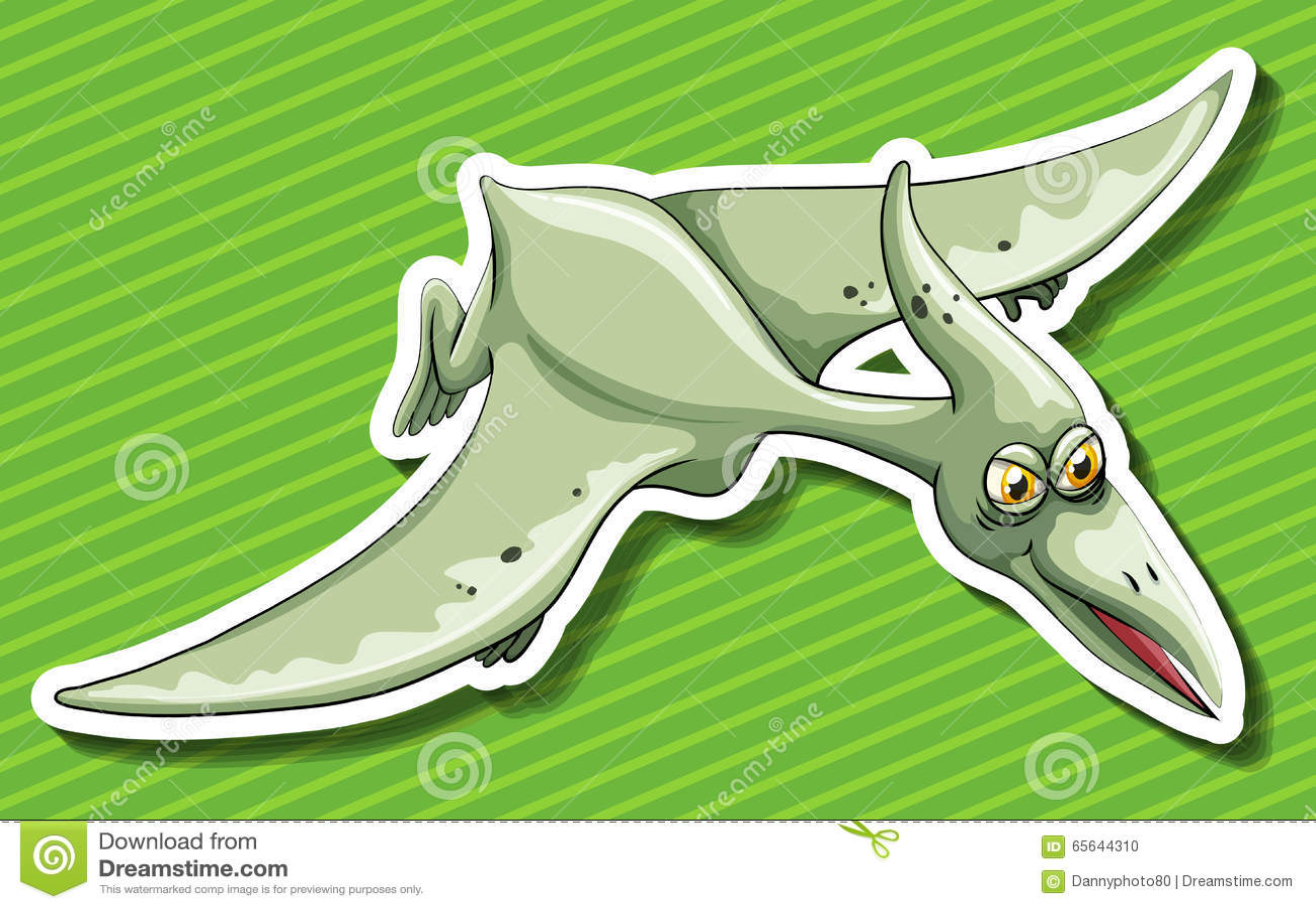 Vol de Pterosaur sur le fond vert