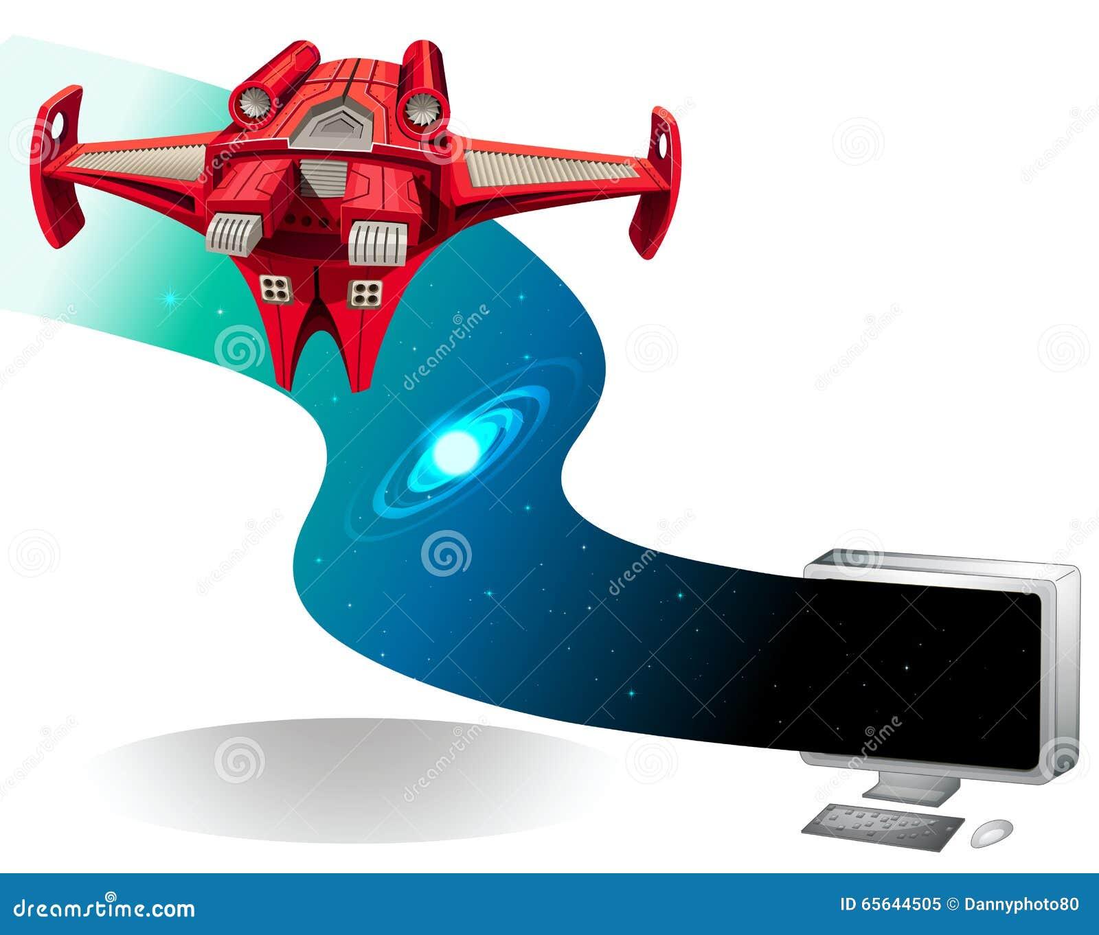 Vol de vaisseau spatial hors de l ordinateur