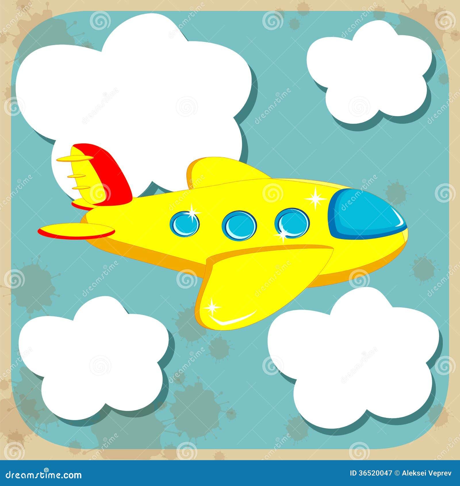 Vol jaune d avion par le ciel avec des nuages