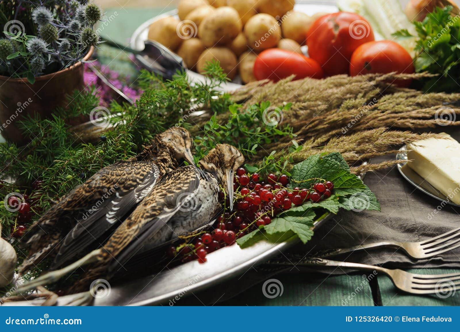 Volailles sauvages de chasse dans la cuisson Mensonge du coup de feu deux ou de la bécasse des bois sur le plat en métal Chasse d