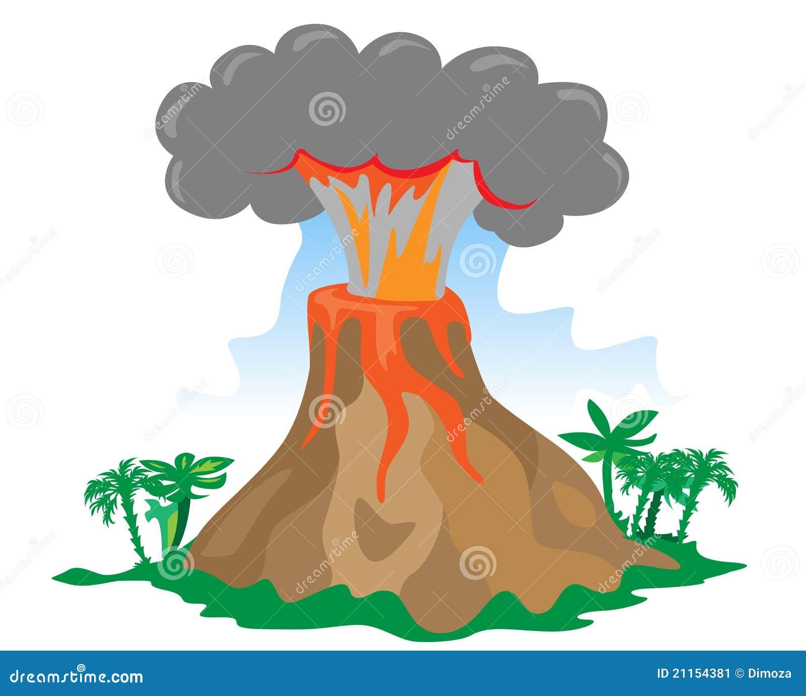 Volcan éclatant de dessin animé