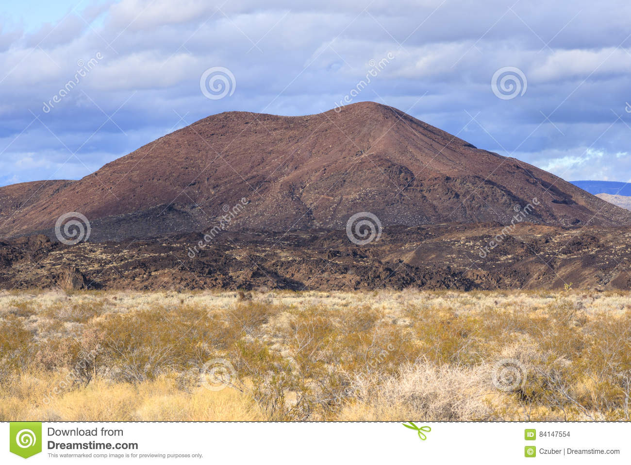 Volcanic Cinder Cone In Mojave Desert Of California Stock Photo ...