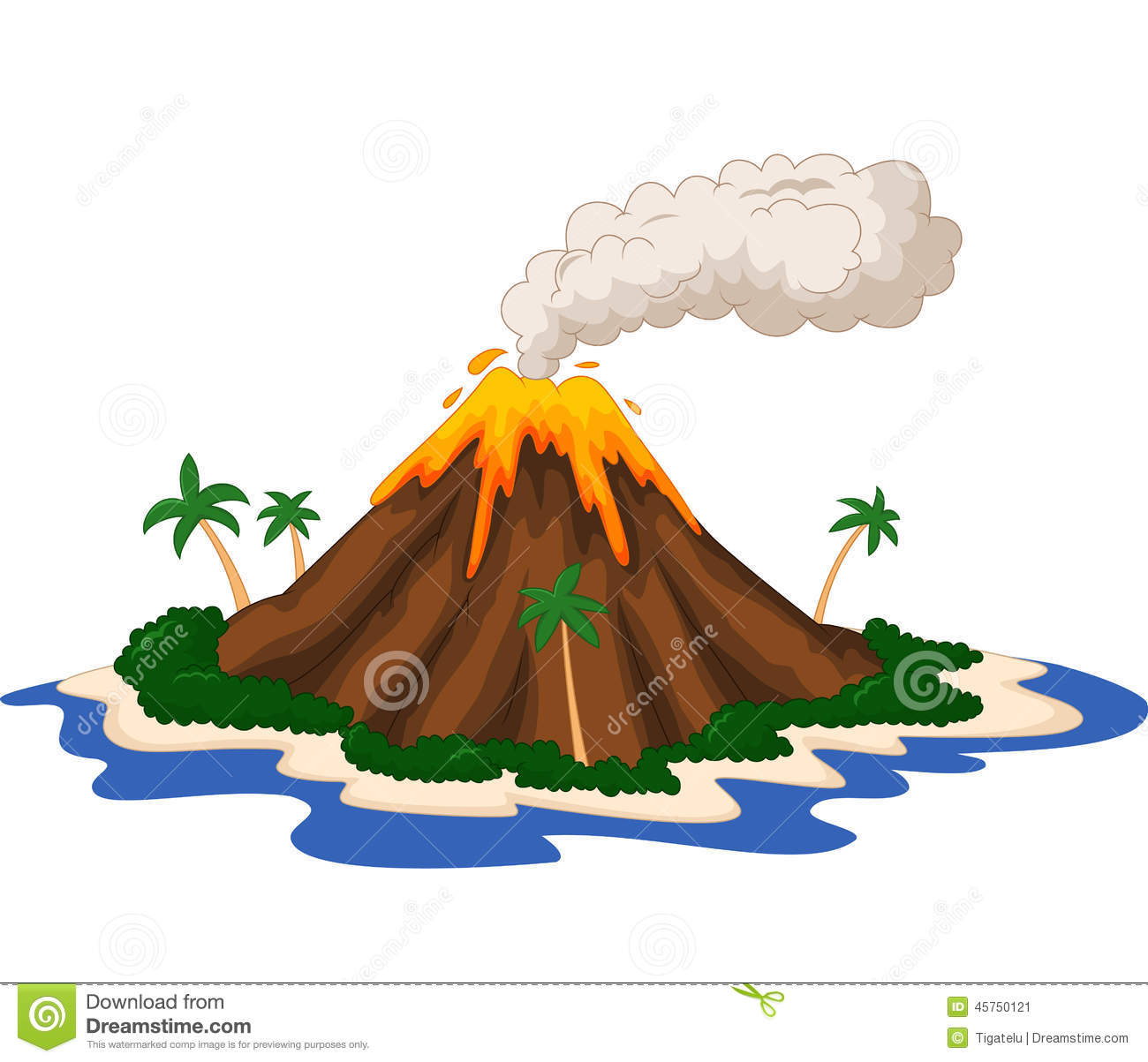 Volcanic Island Cartoon Stock Vector - Image: 45750121