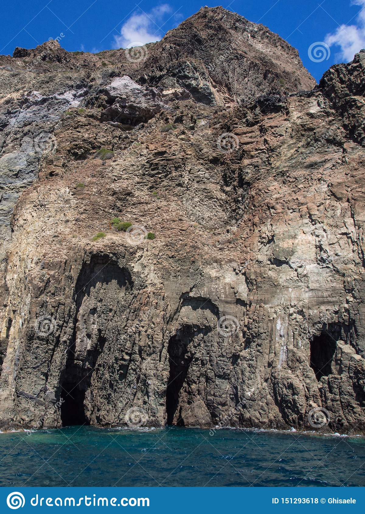 Volcanic rock and sea. Pantelleria, Sicily, Italy