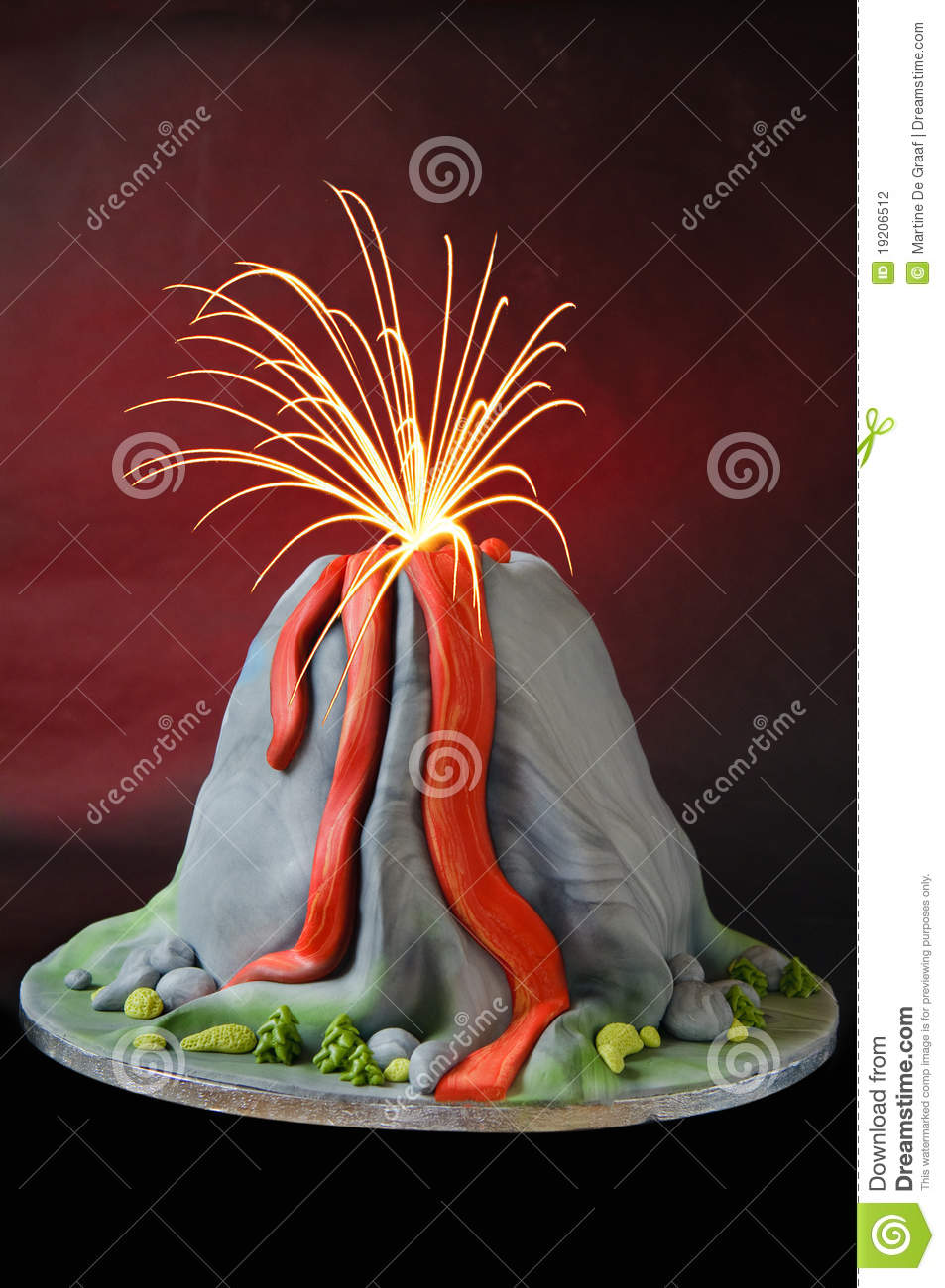 Volcano Cake Stock Photo Image Of Flow Birthday
