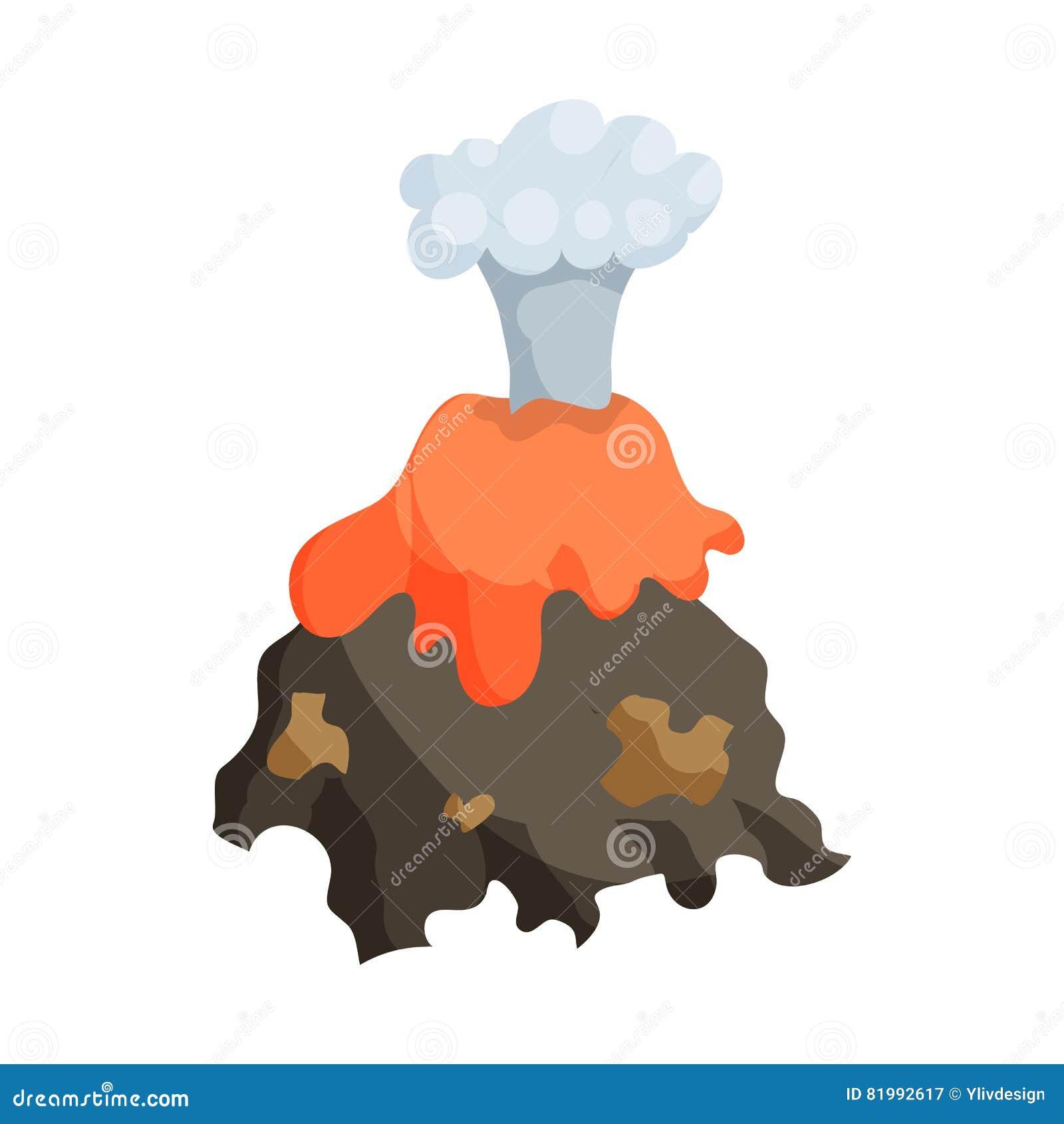 Volcano Erruption And Lava Icon Cartoon Style Stock